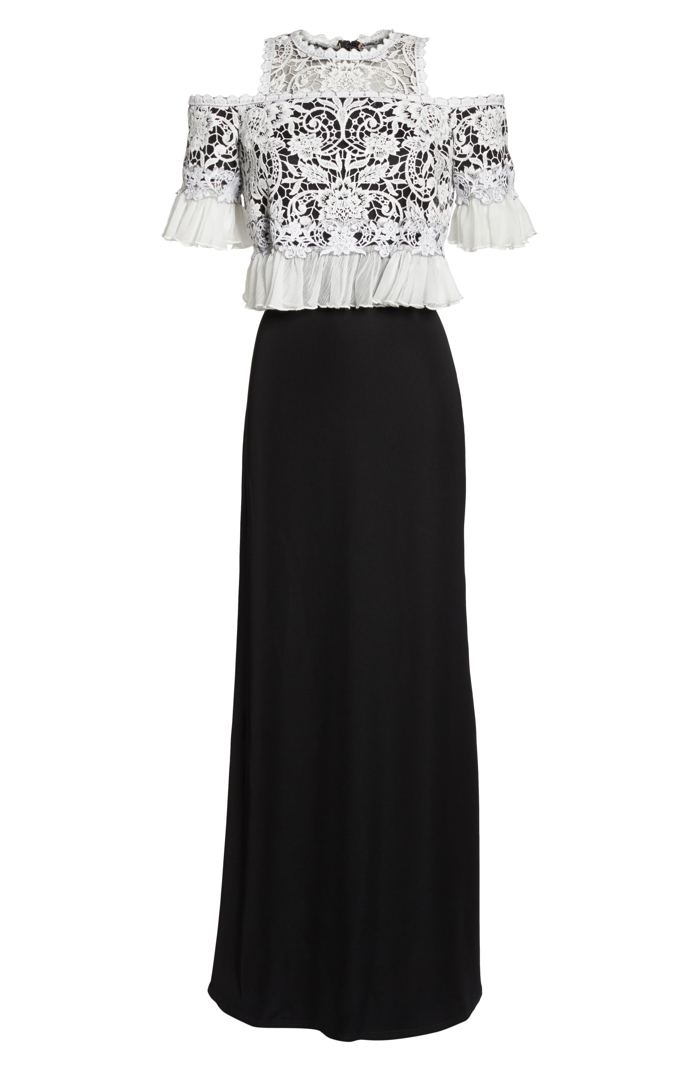 Crochet Bodice Gown,                             Alternate thumbnail 6, color,                             Black/ Ivory