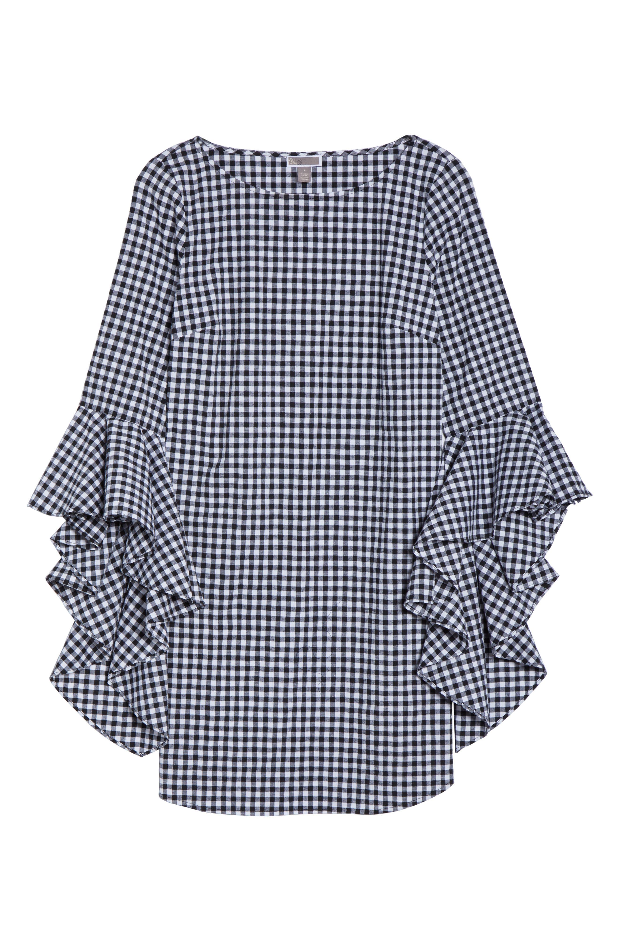 Ruffle Sleeve Gingham Shift Dress,                             Alternate thumbnail 6, color,                             Black/ White Gingham
