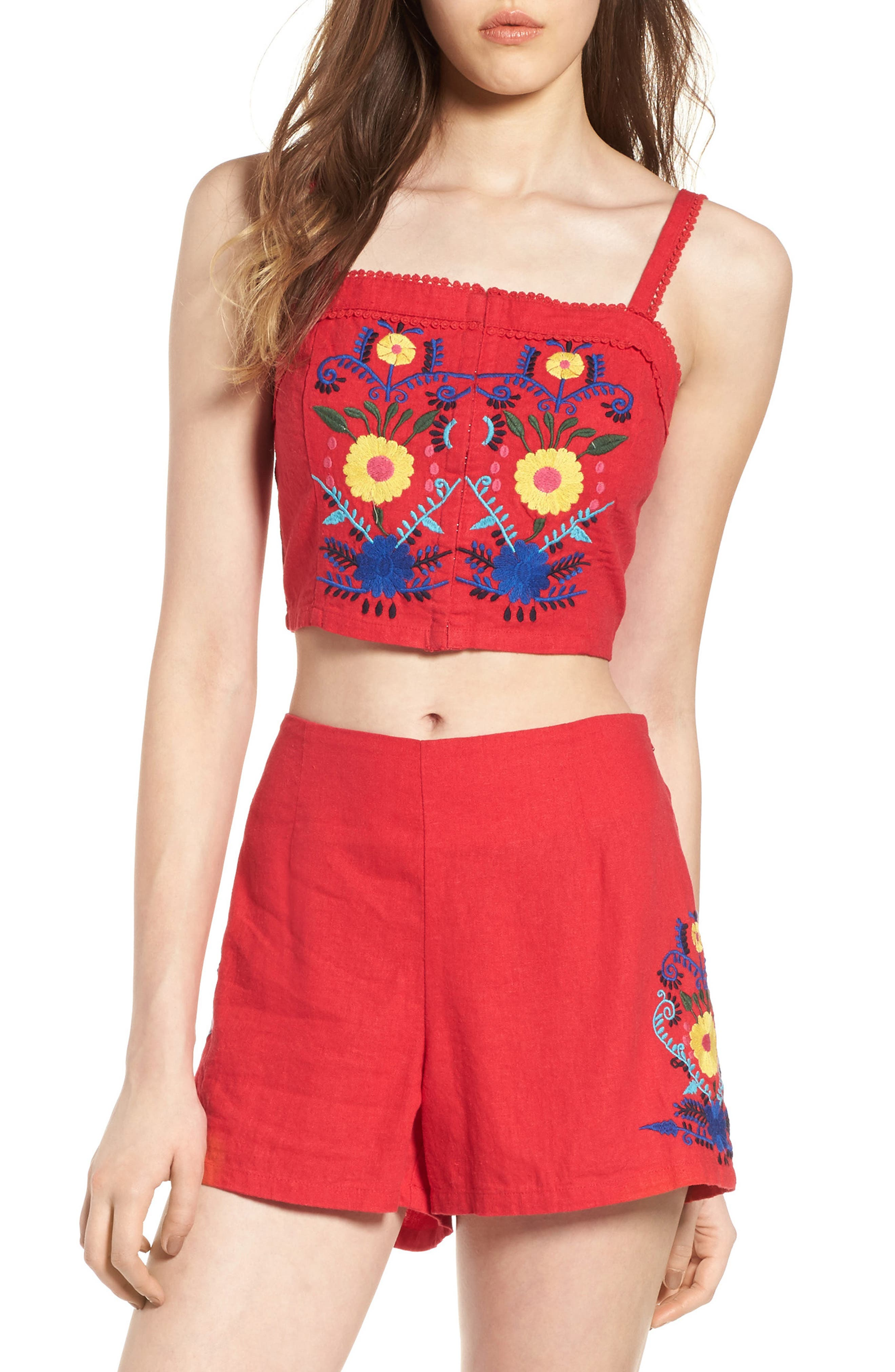 Embroidered Corset Crop Top,                         Main,                         color, Red Lipstick