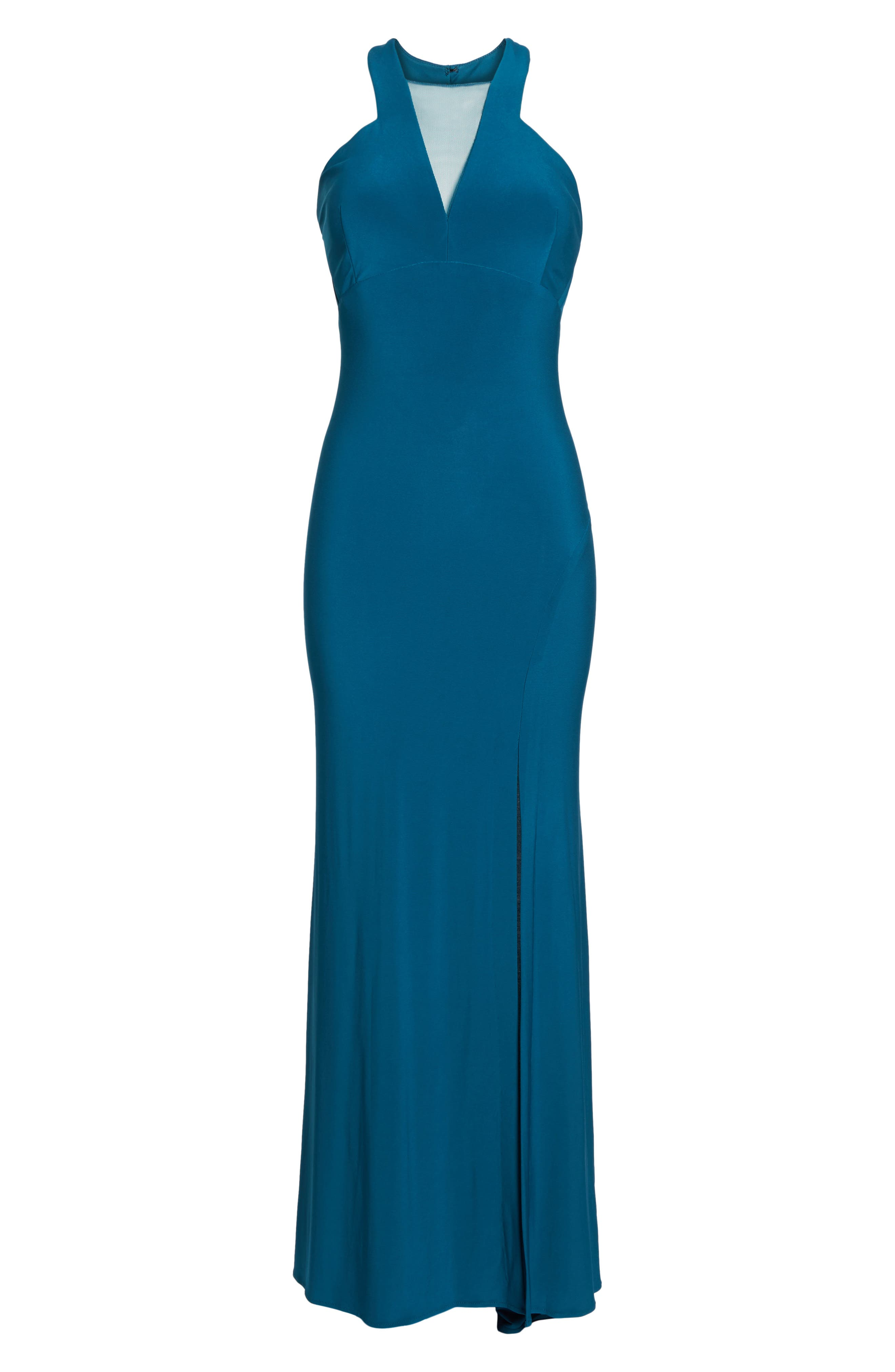 Mesh Inset Halter Gown,                             Alternate thumbnail 6, color,                             Spruce