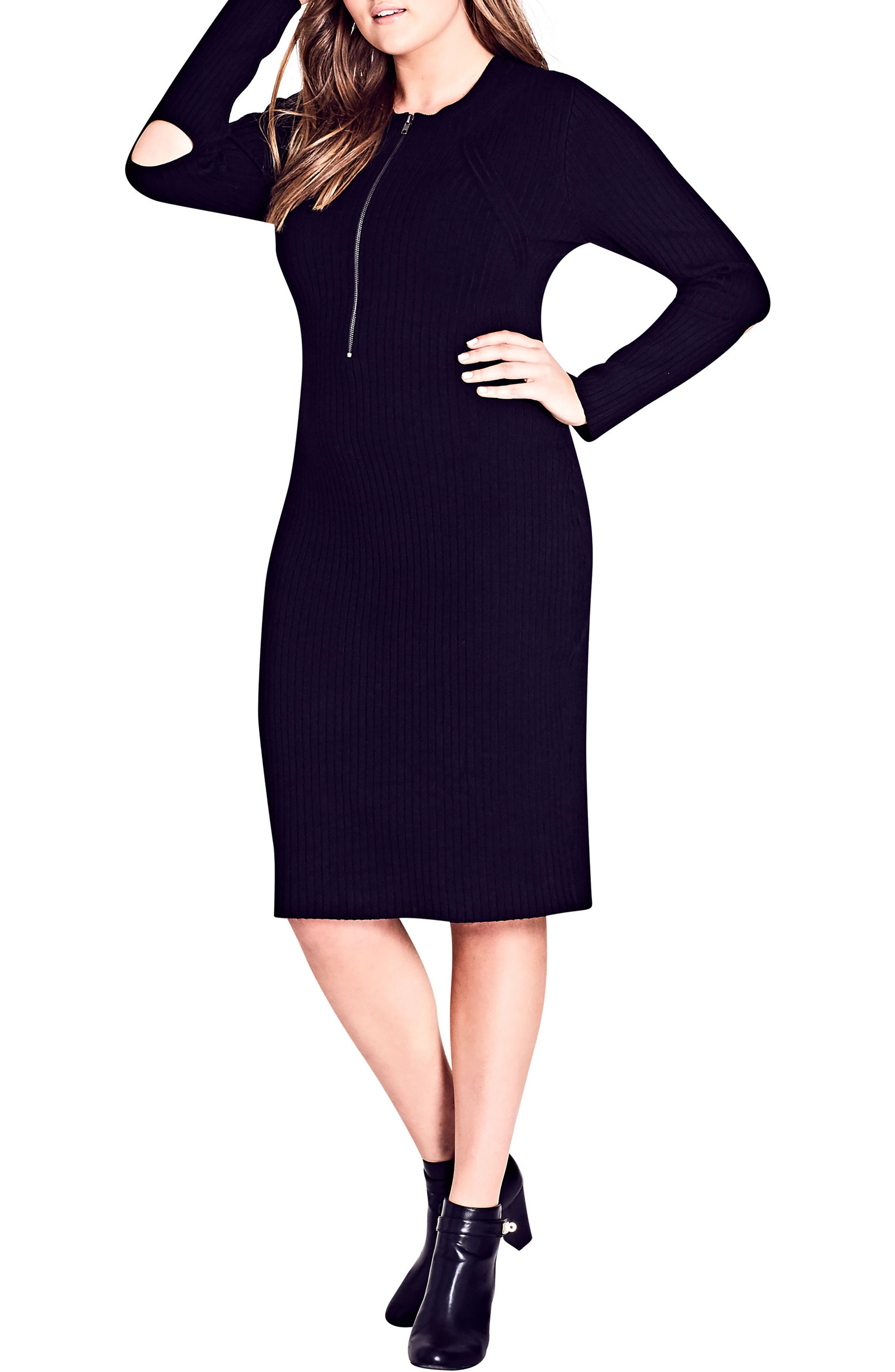 Zipped Up Sweater Dress,                             Main thumbnail 1, color,                             Black