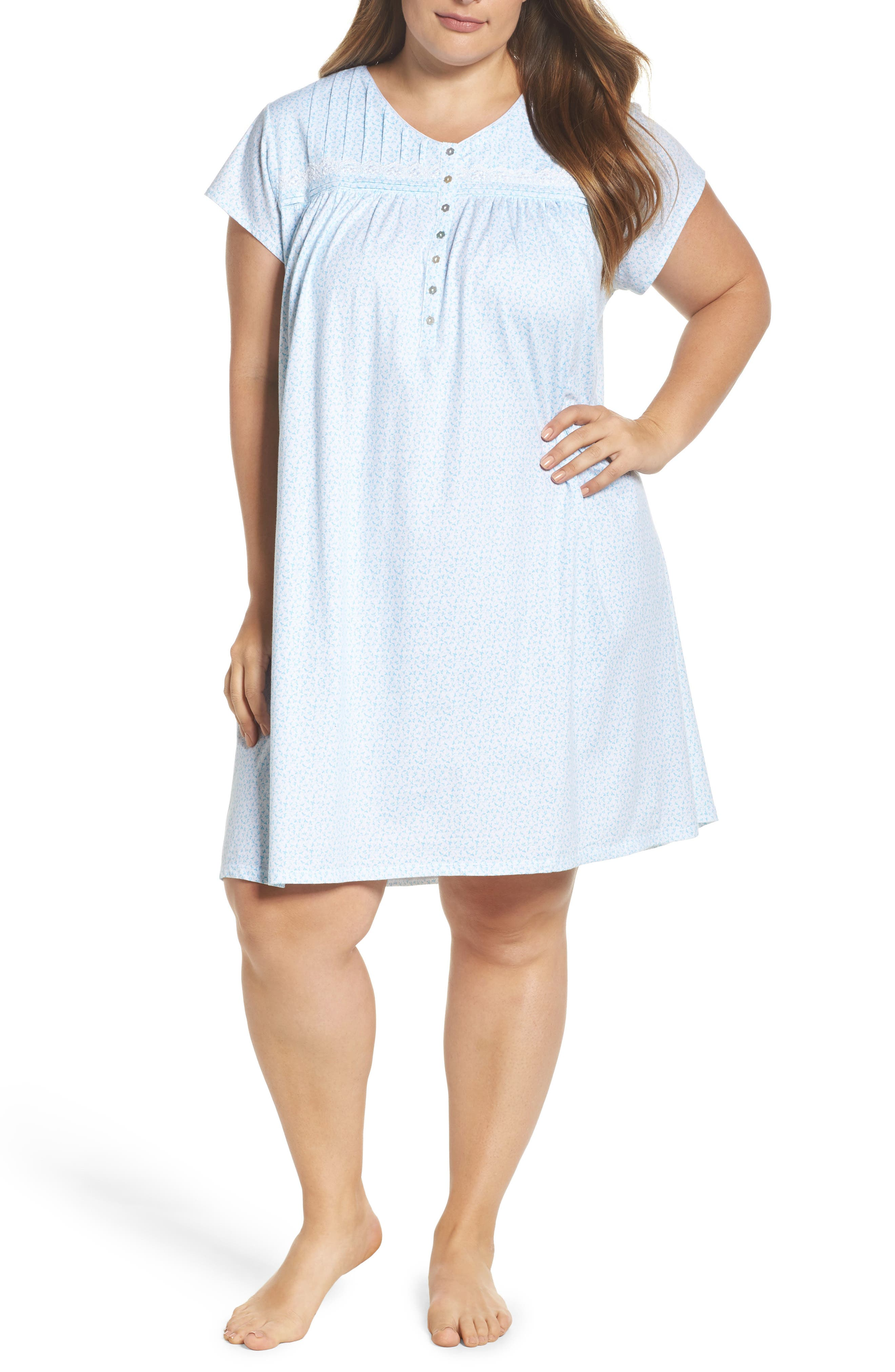 23e7eea4f6 EILEEN WEST PLUS SIZE COTTON BUTTON-FRONT NIGHTGOWN