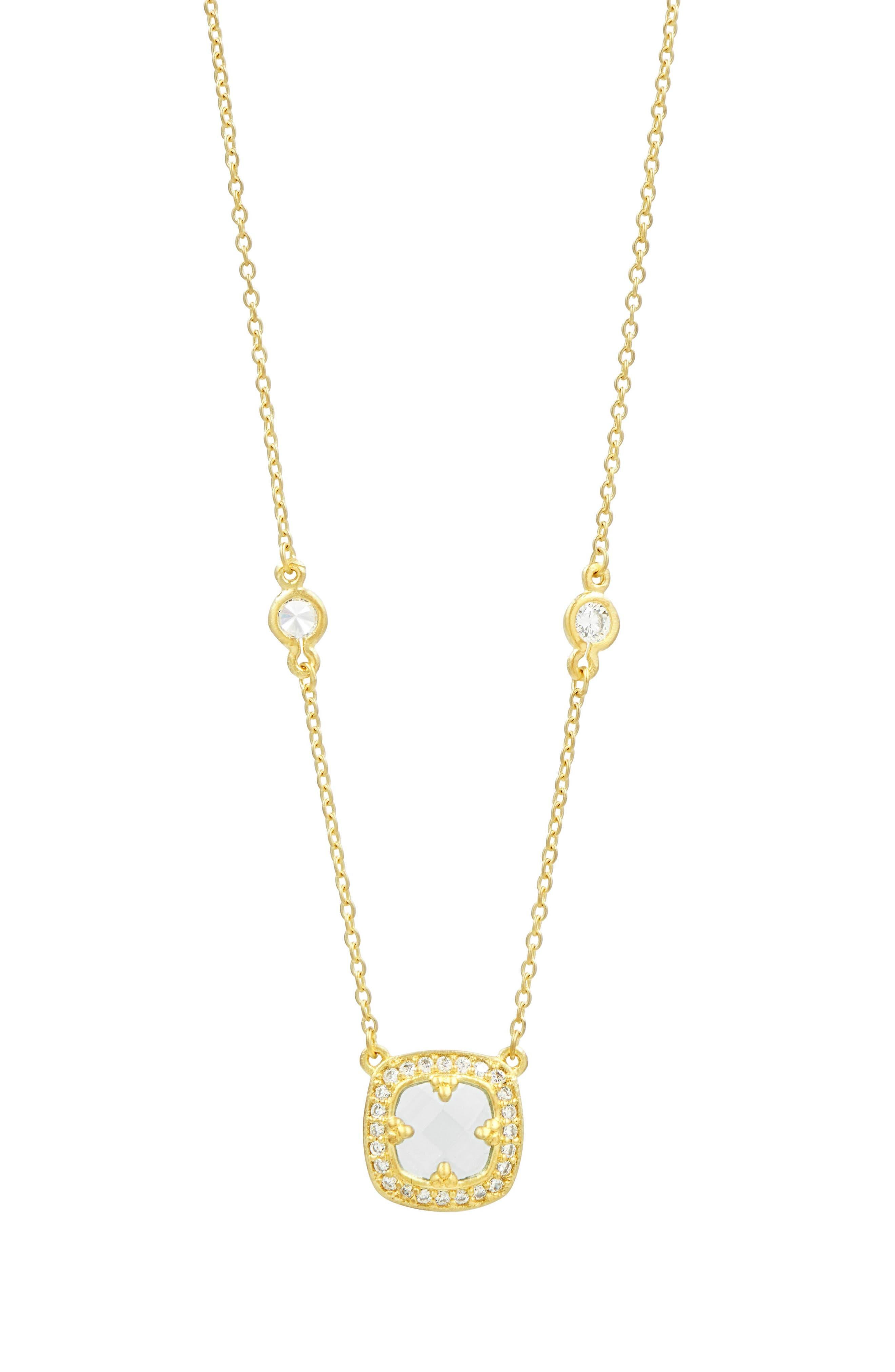 Ocean Azure Cubic Zirconia Pendant Necklace,                         Main,                         color, Gold/ Aqua