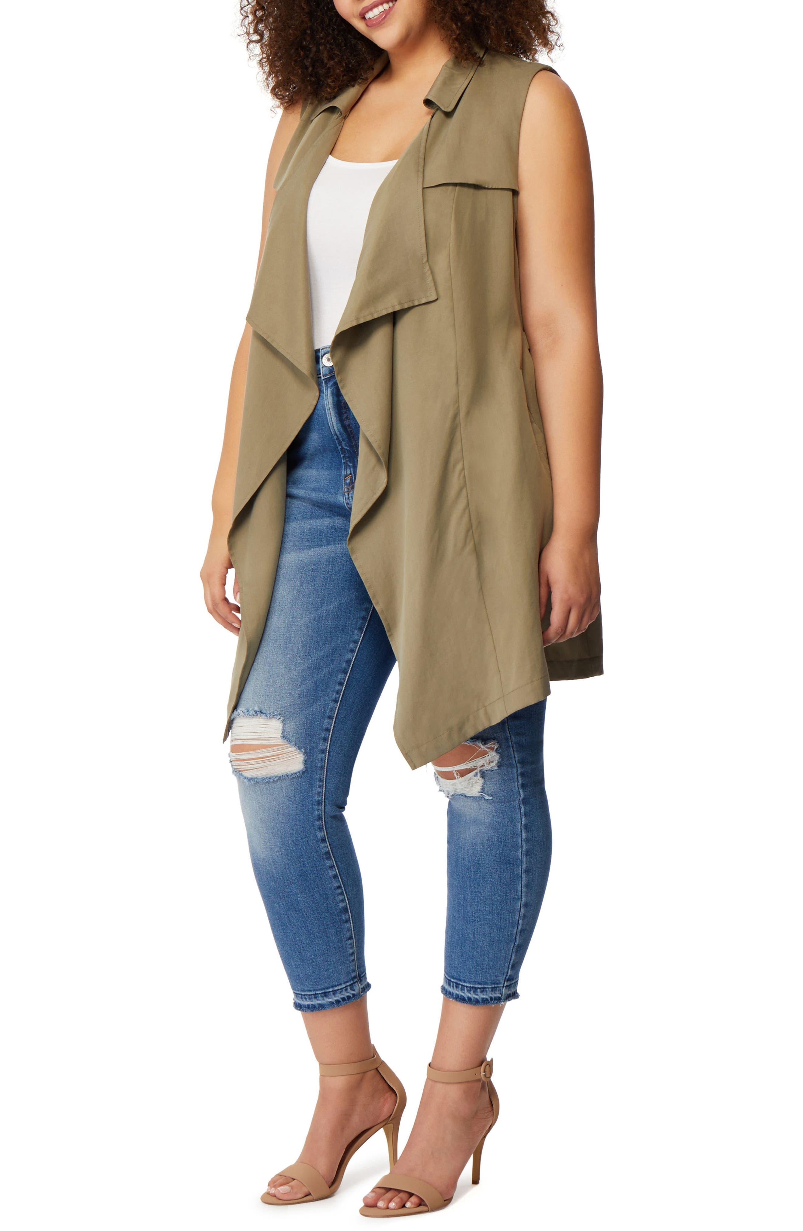 Flyaway Trench Coat Vest,                             Alternate thumbnail 2, color,                             Burnt Olive