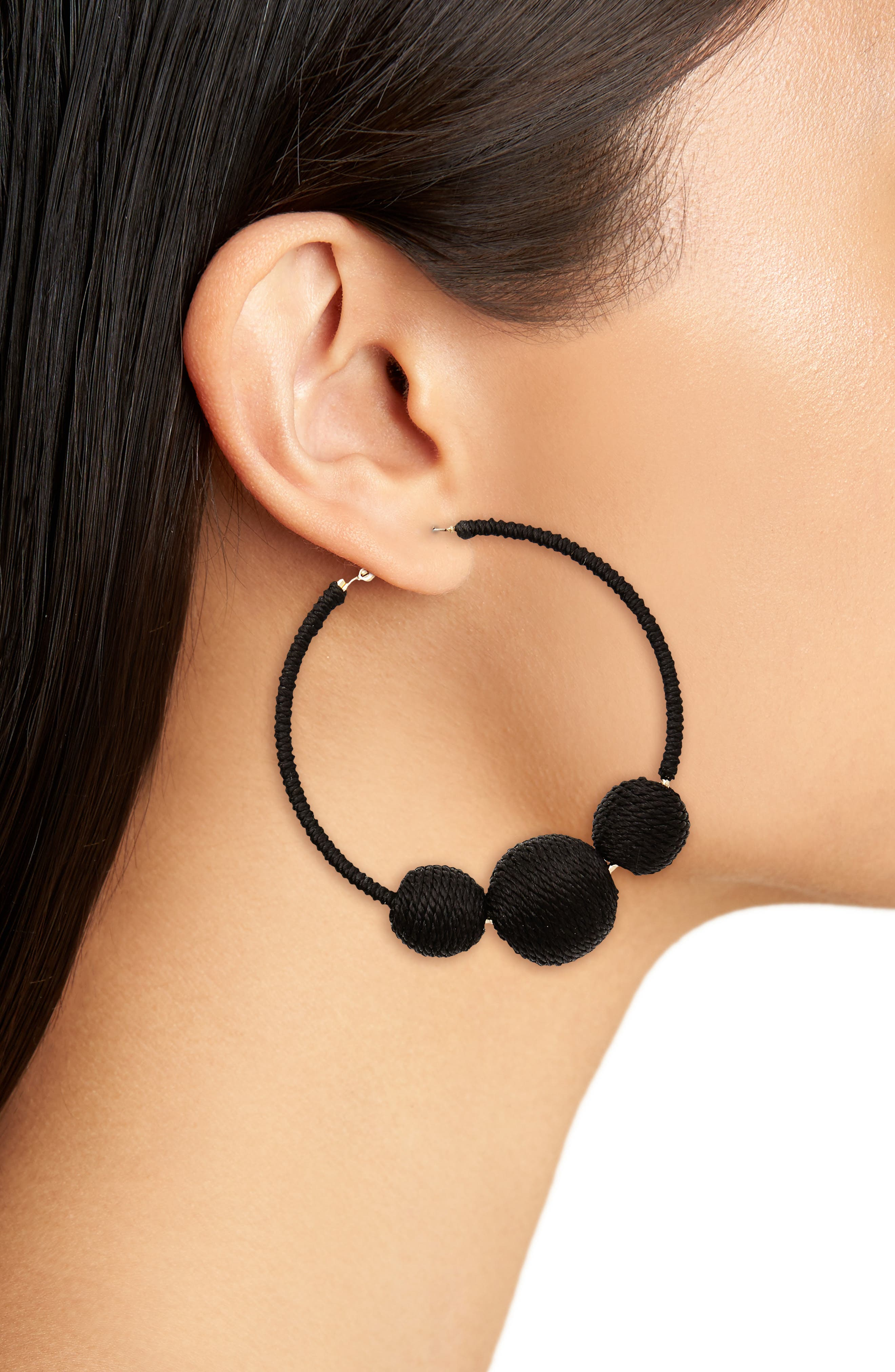 Wrapped Ball Hoop Earrings,                             Alternate thumbnail 2, color,                             Black
