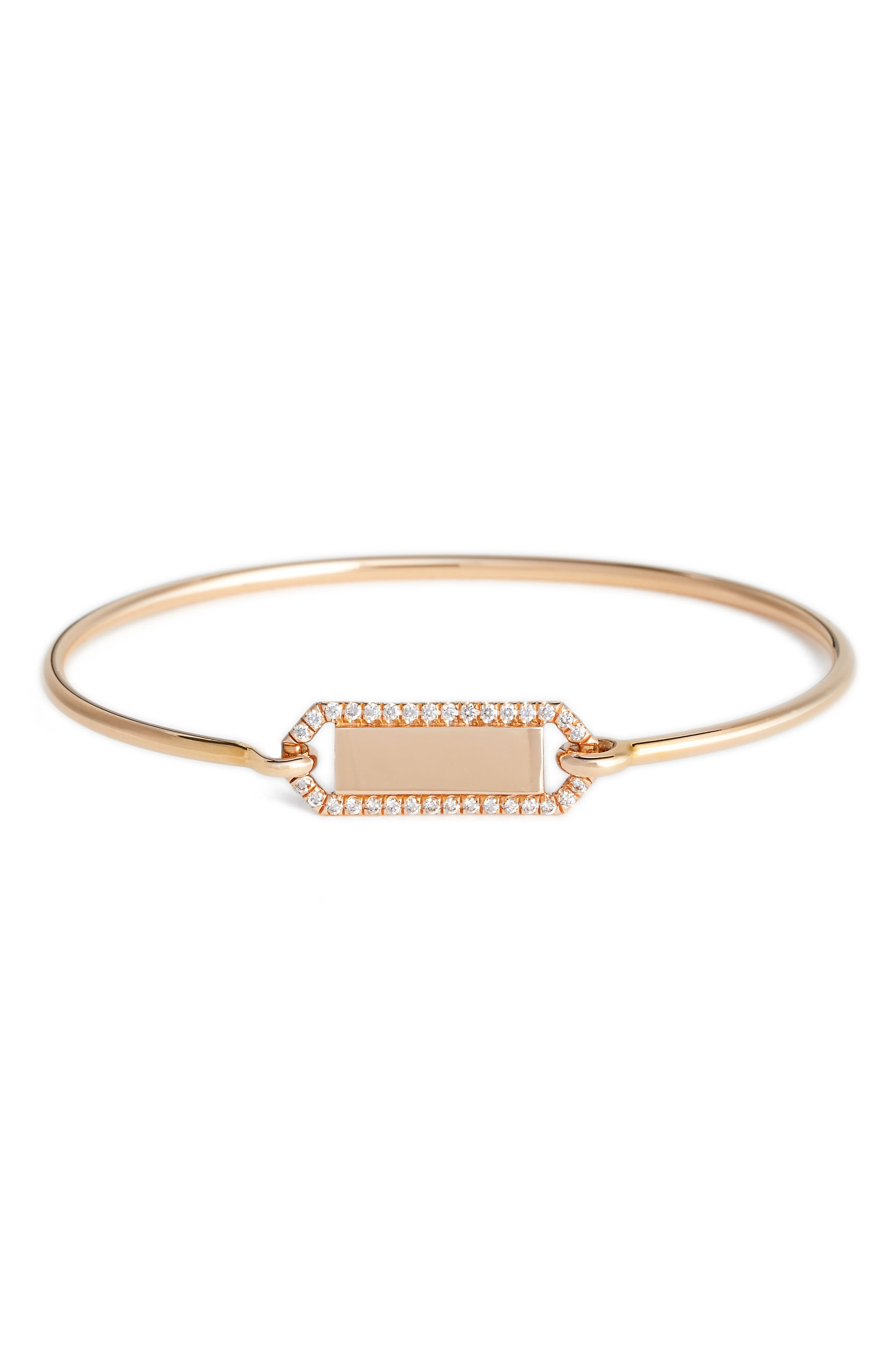 Personalized Diamond & Rose Gold Bangle,                             Main thumbnail 1, color,                             Diamond