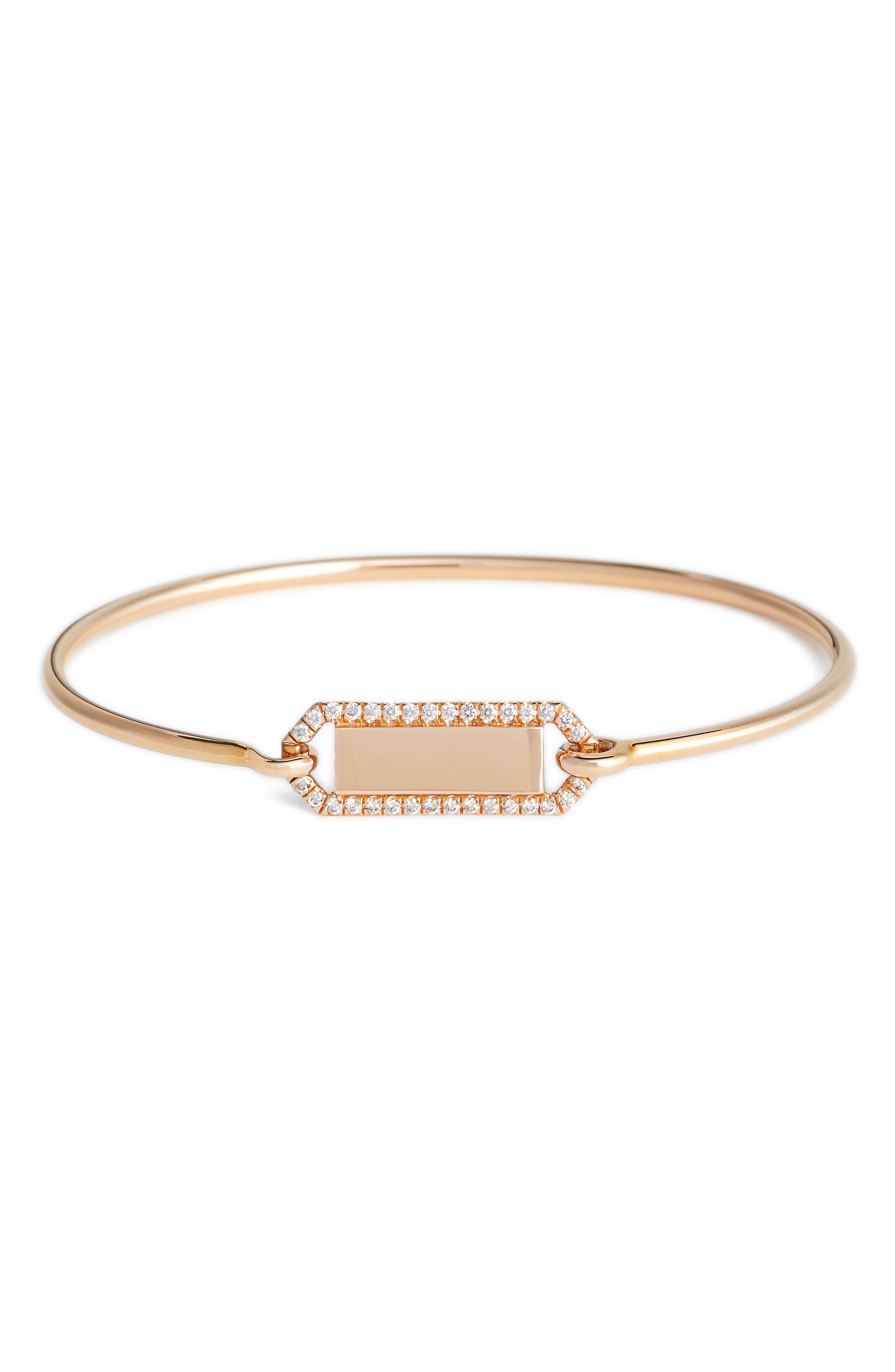 Personalized Diamond & Rose Gold Bangle,                         Main,                         color, Diamond