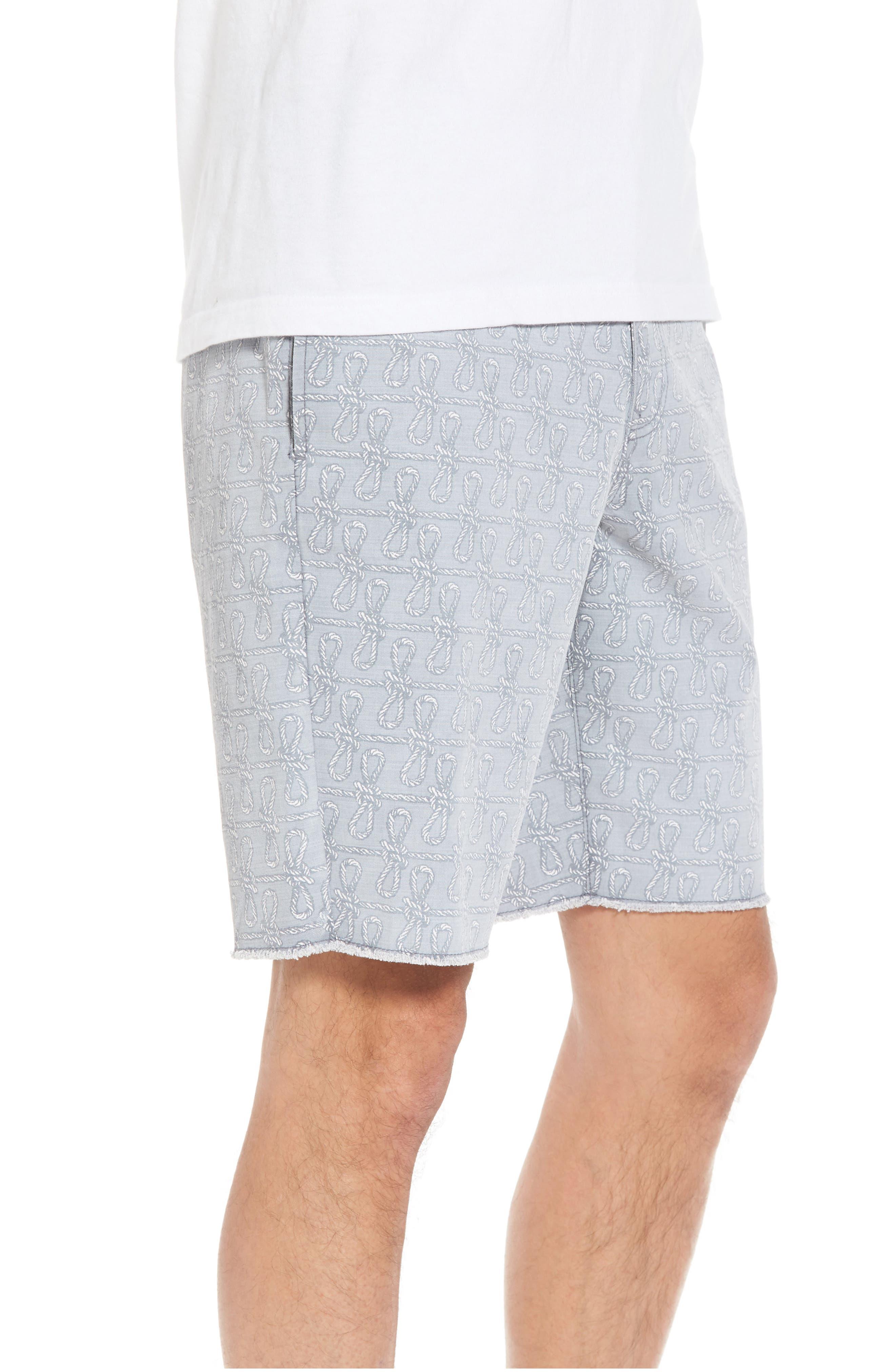 Print Frost Wash Shorts,                             Alternate thumbnail 3, color,                             Grey Rope Print