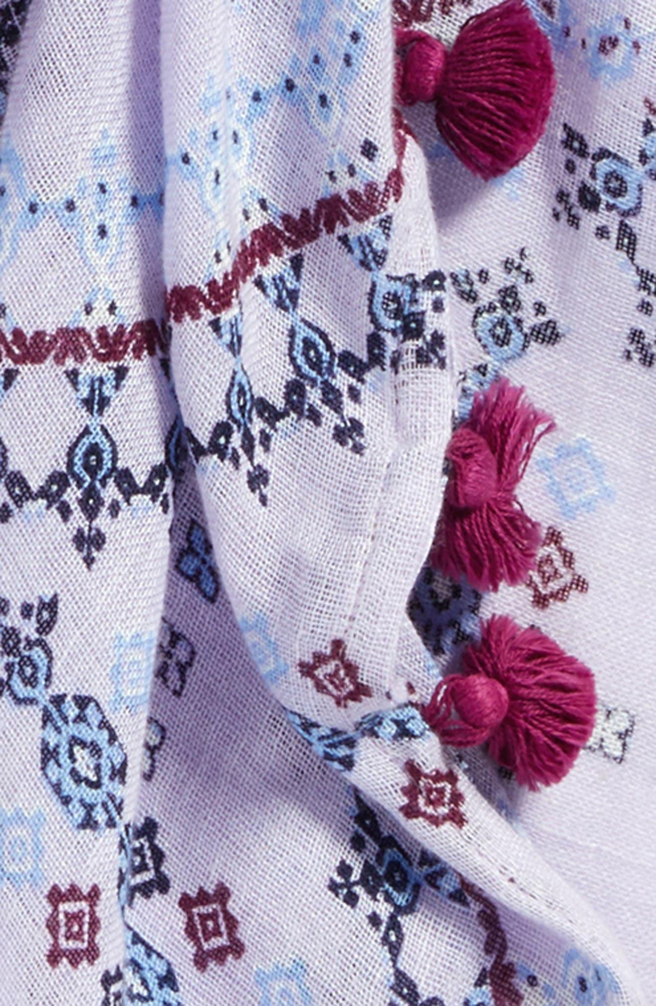 Tassel Scarf,                             Alternate thumbnail 4, color,                             Purple Vintage Tapestry