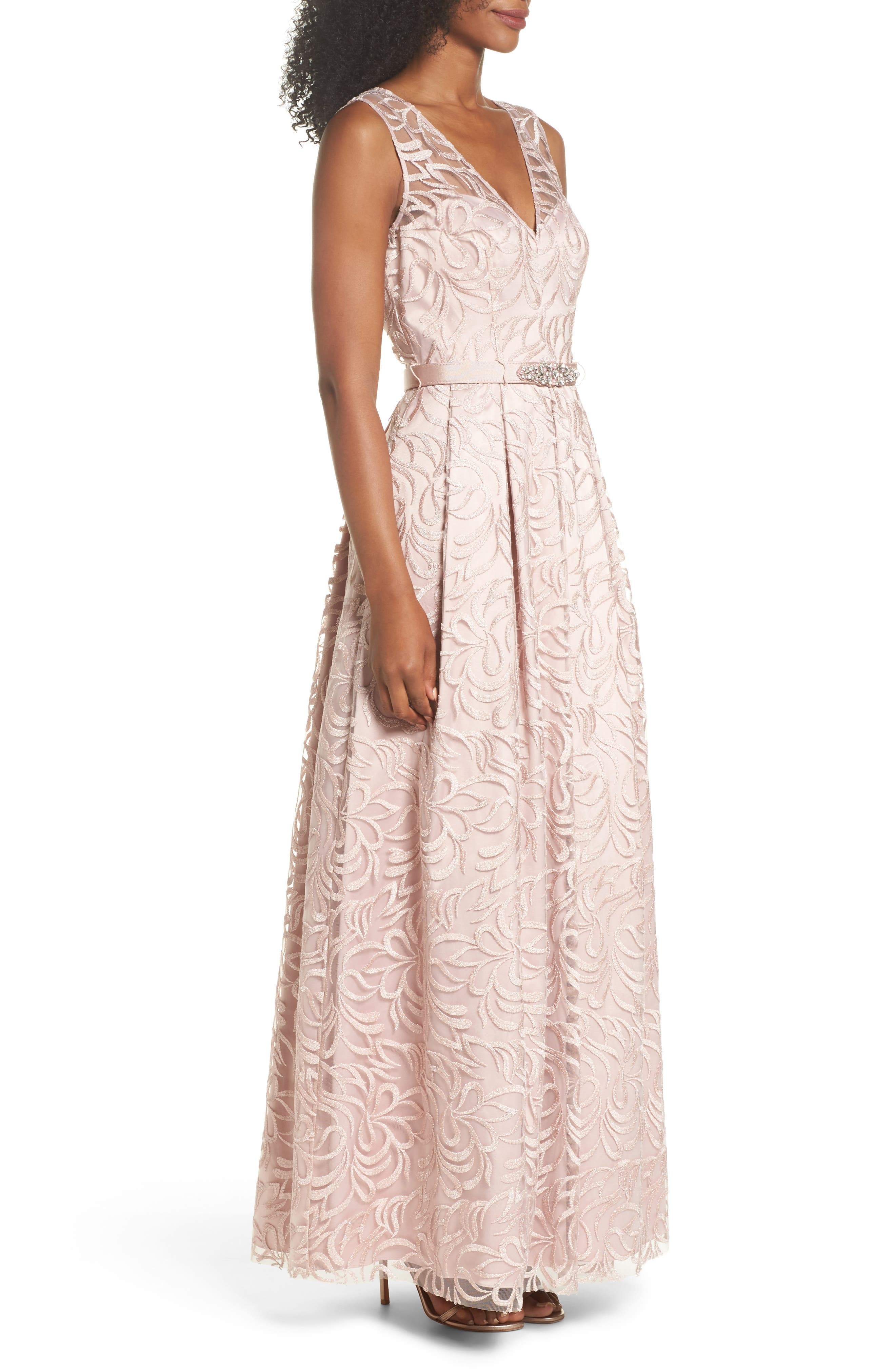 Belted Embroidered Gown,                             Alternate thumbnail 3, color,                             Blush