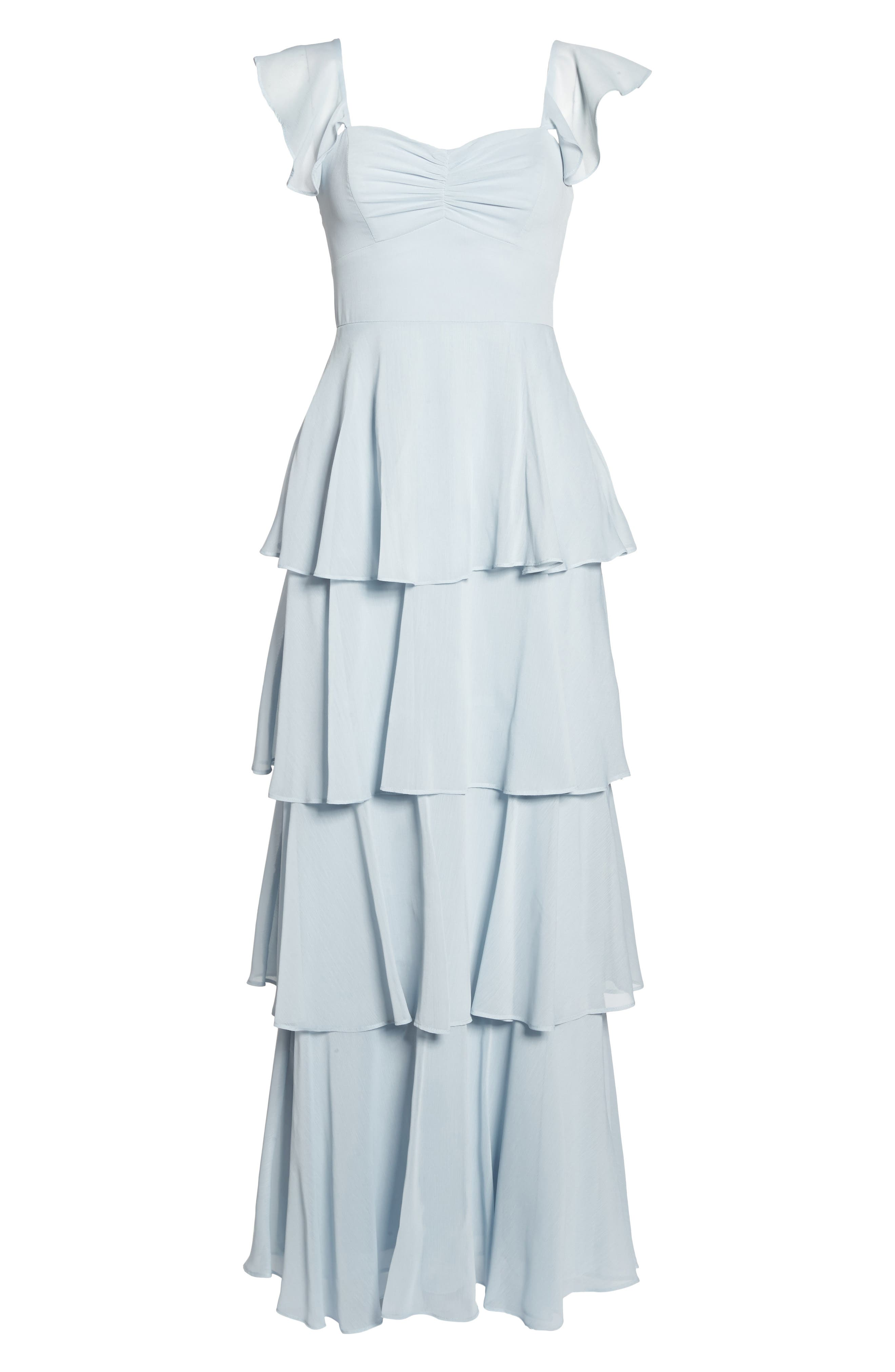 Abby Off the Shoulder Tiered Dress,                             Alternate thumbnail 6, color,                             Ocean Mist