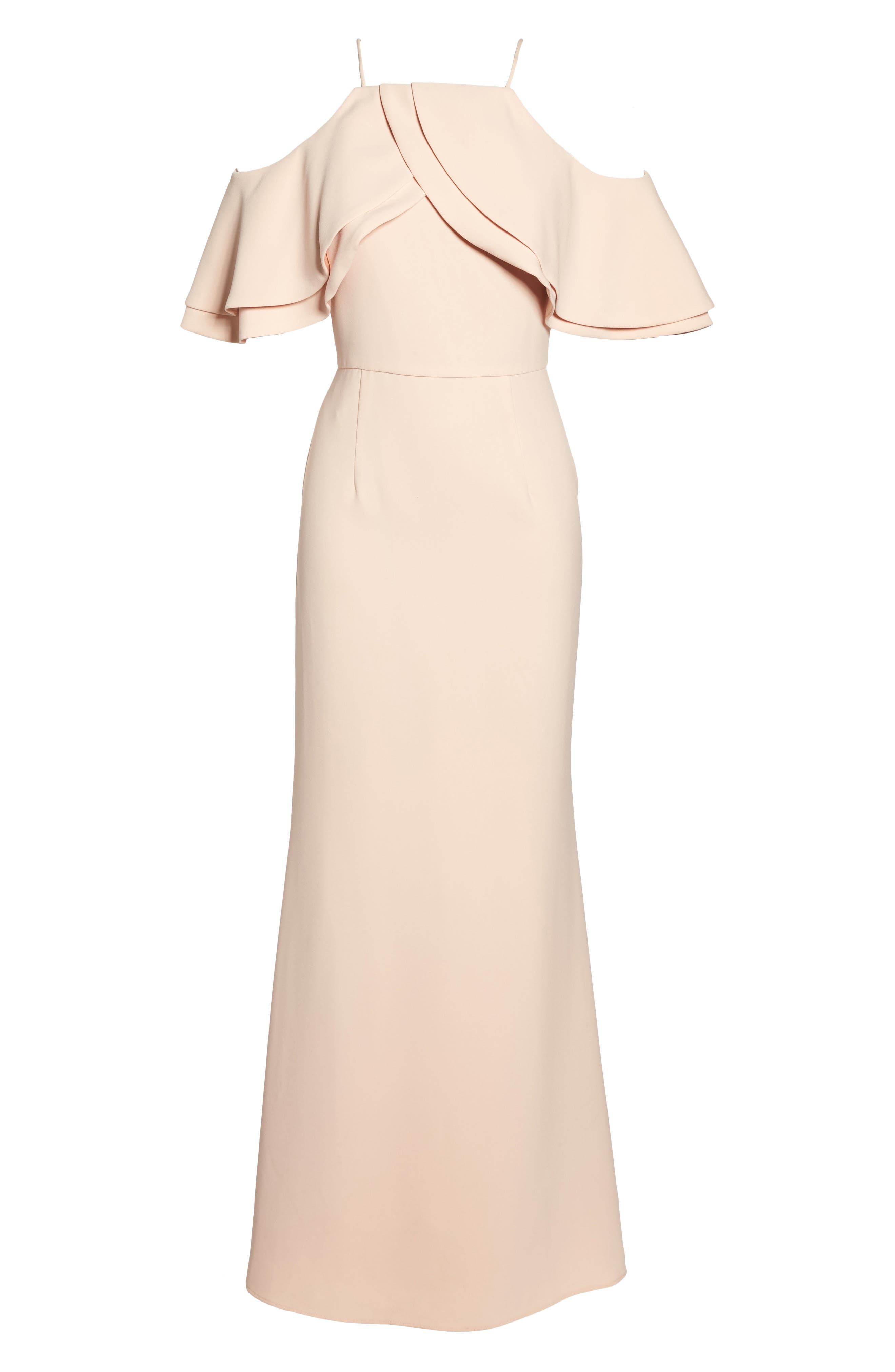 Ruffle Bodice Cold Shoulder Gown,                             Alternate thumbnail 6, color,                             Blush