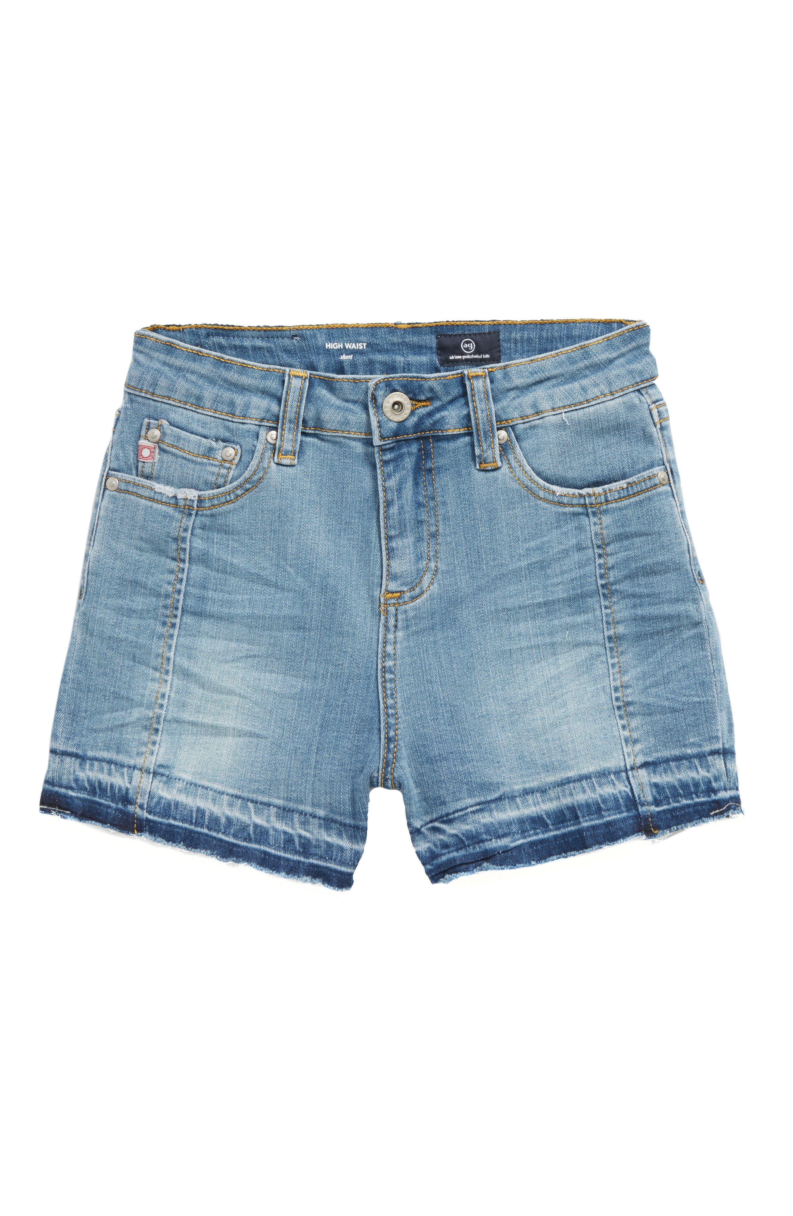 ag adriano goldschmied kids Released Hem High Waist Shorts (Big Girls)