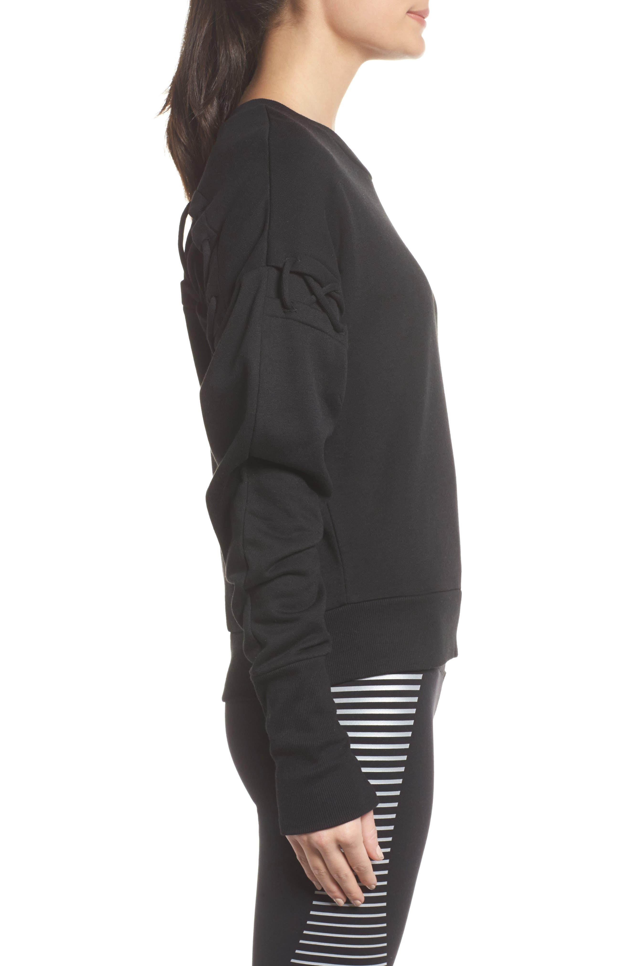 Lattice Long Sleeve Pullover,                             Alternate thumbnail 3, color,                             Black