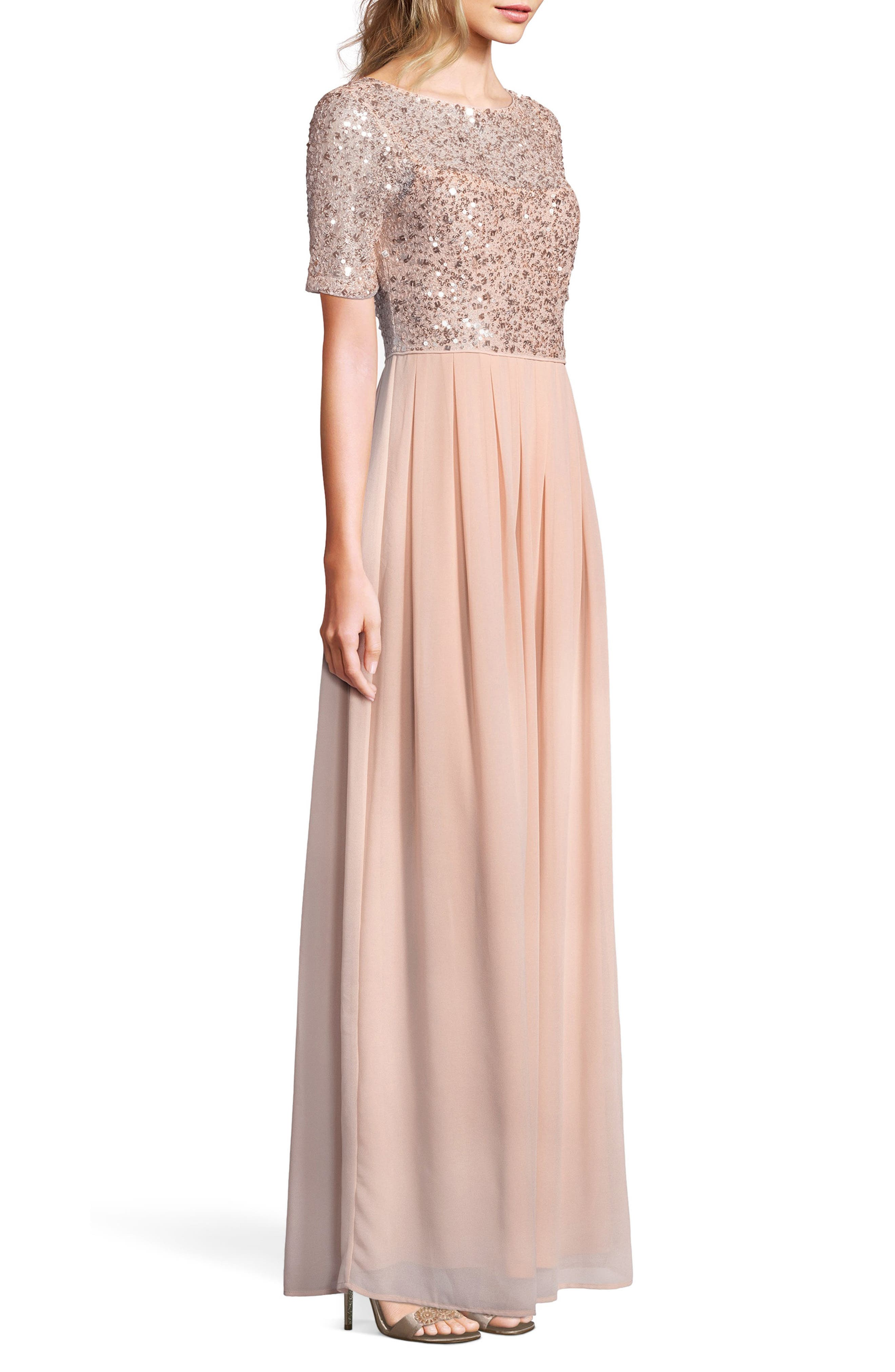 Beaded Bodice Georgette Gown,                             Alternate thumbnail 3, color,                             English Rose