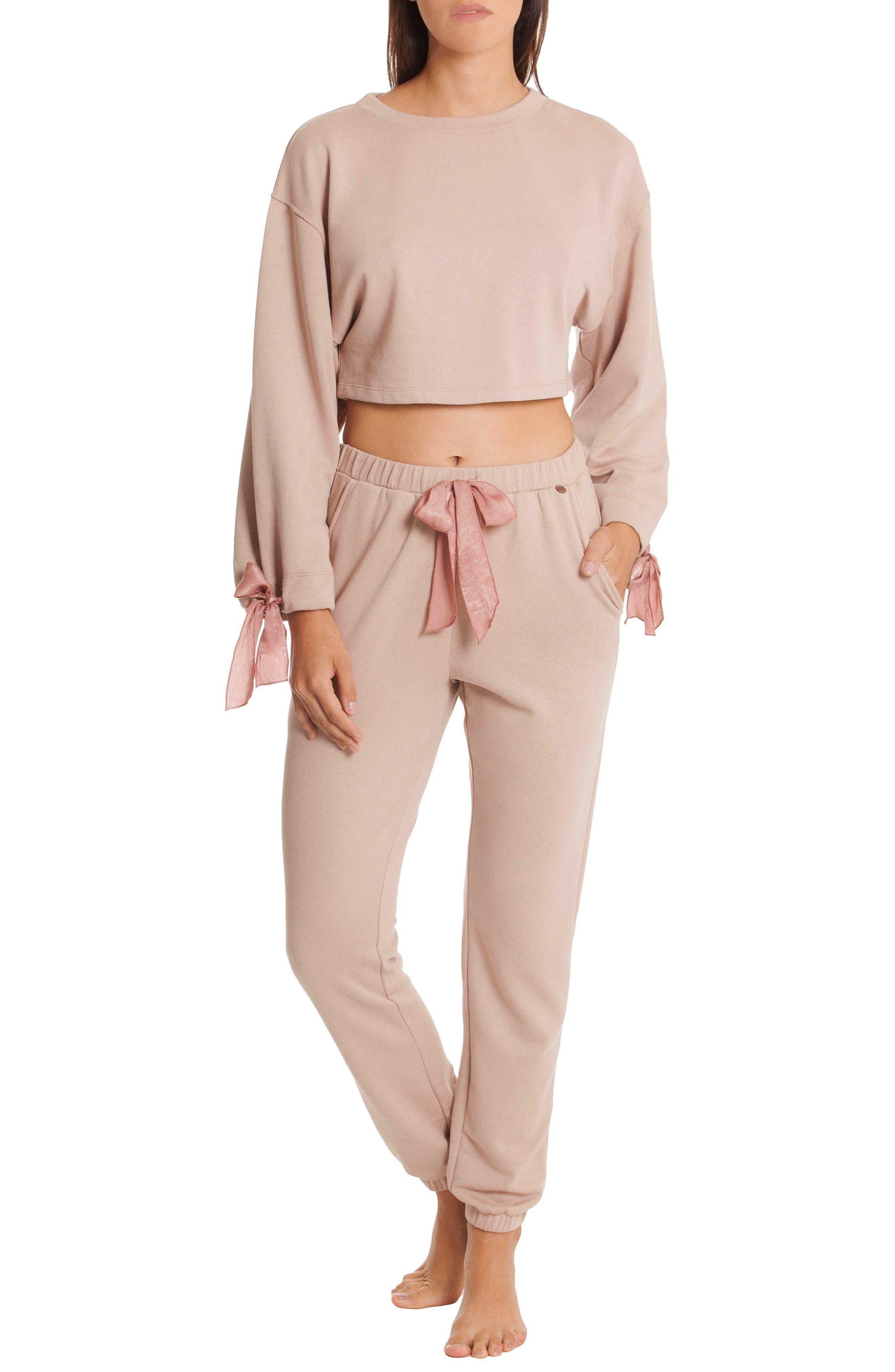 Crop Sweatshirt,                             Alternate thumbnail 4, color,                             Taupe