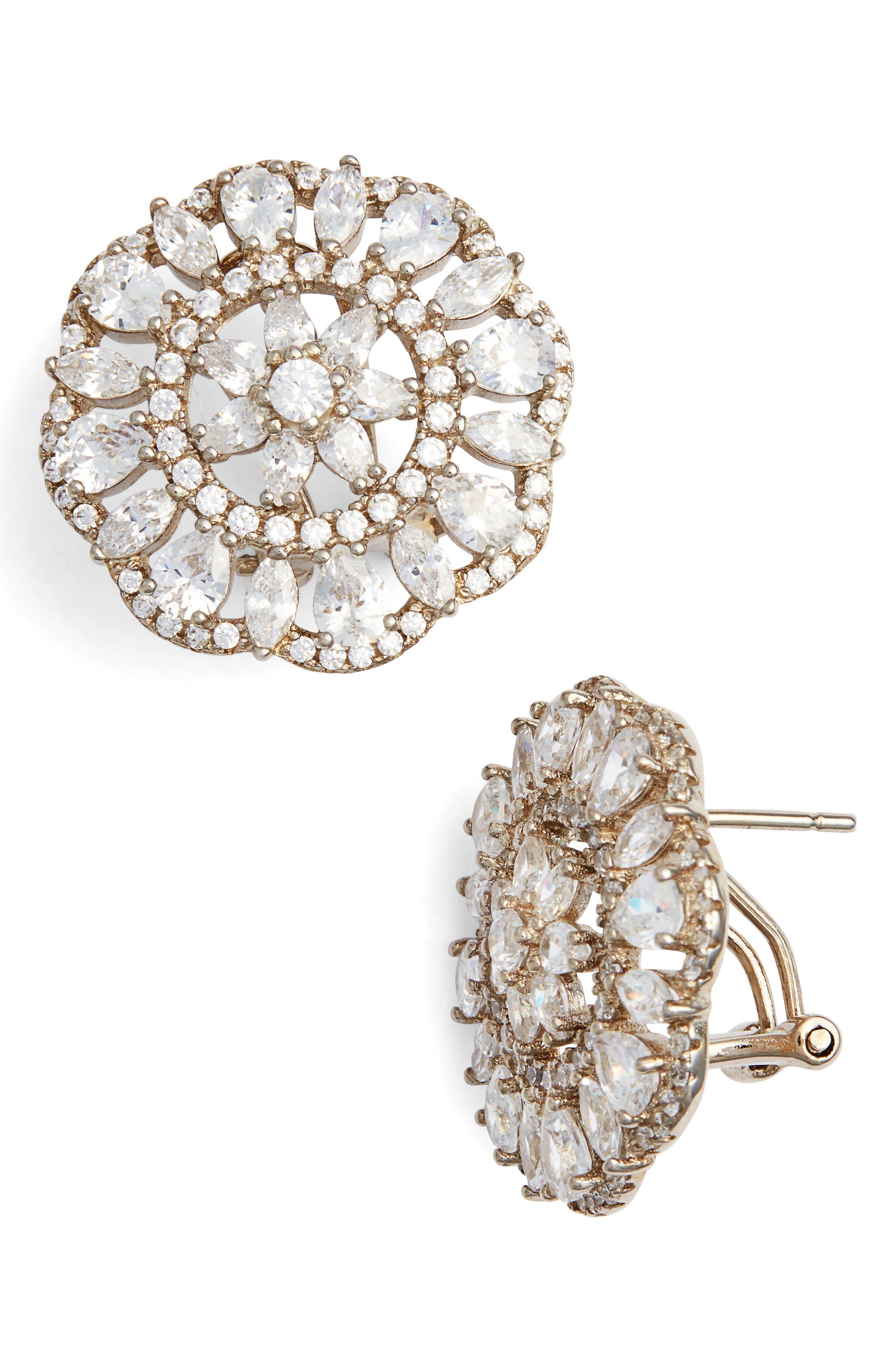 Sunburst Cubic Zirconia Clip Earrings,                         Main,                         color, Silver/ White Cz