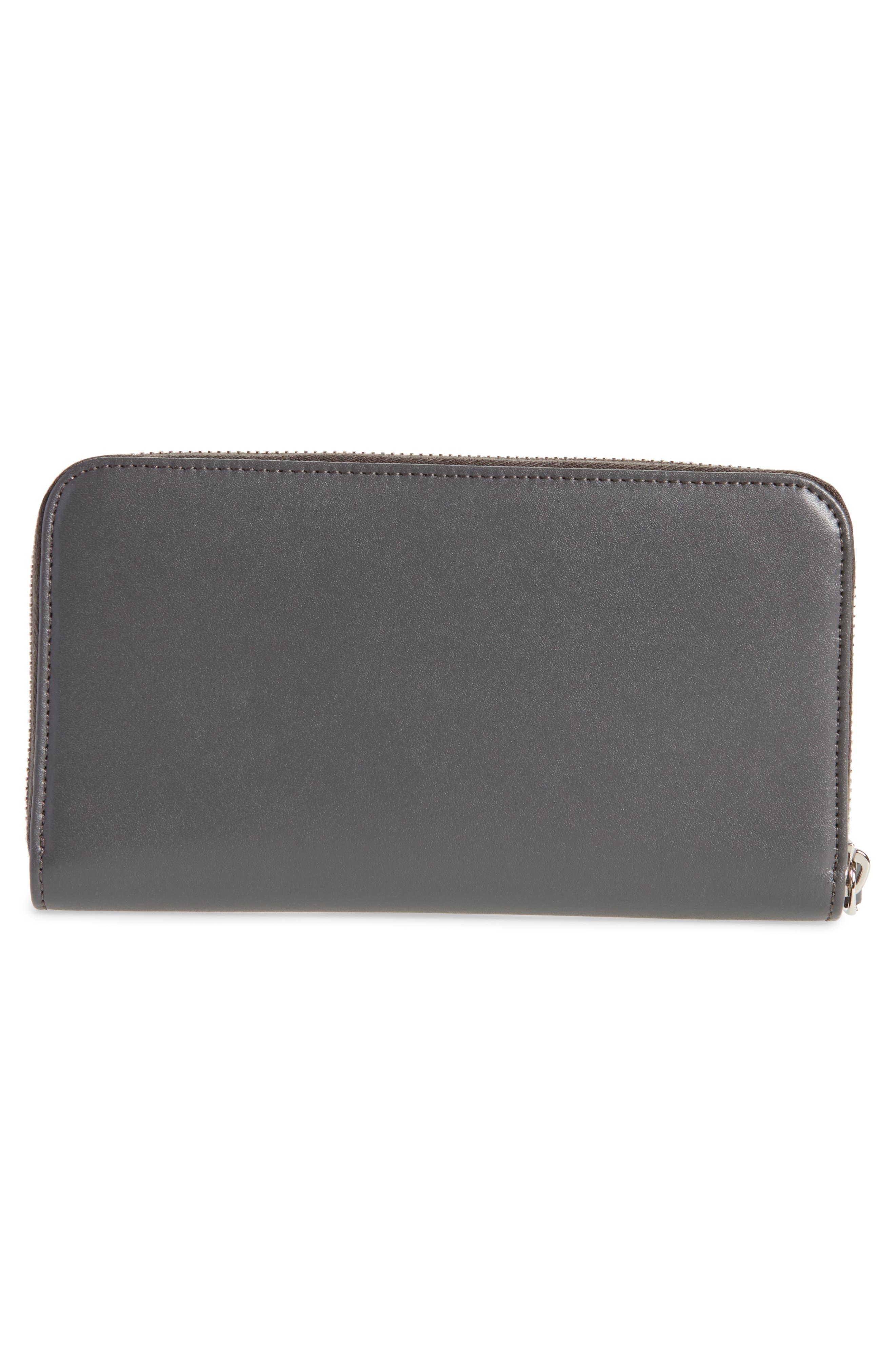 Studded Calfskin Wallet,                             Alternate thumbnail 4, color,                             Asphalt