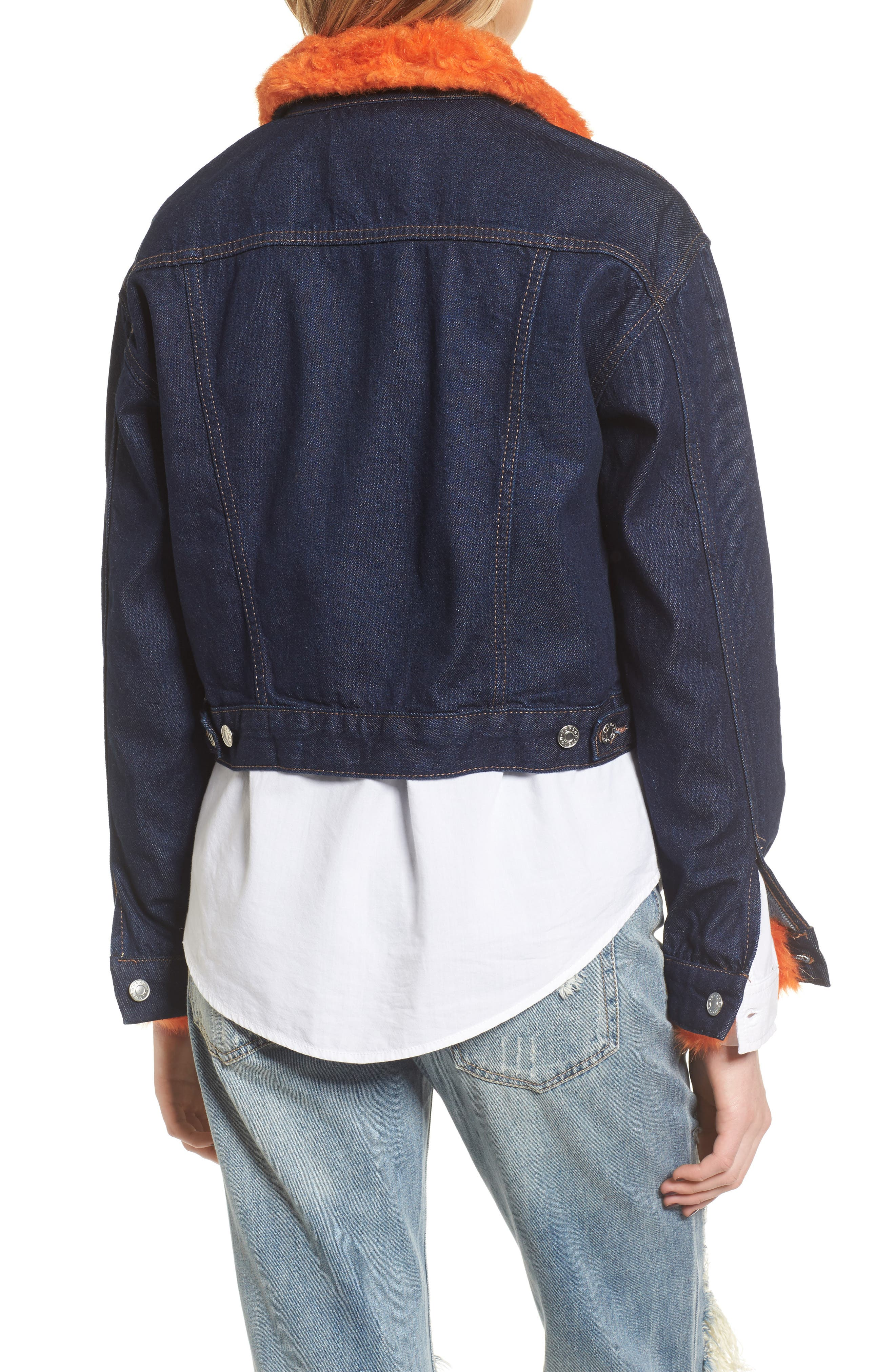 Tilda Faux Fur Trim Denim Jacket,                             Alternate thumbnail 2, color,                             Indigo Multi