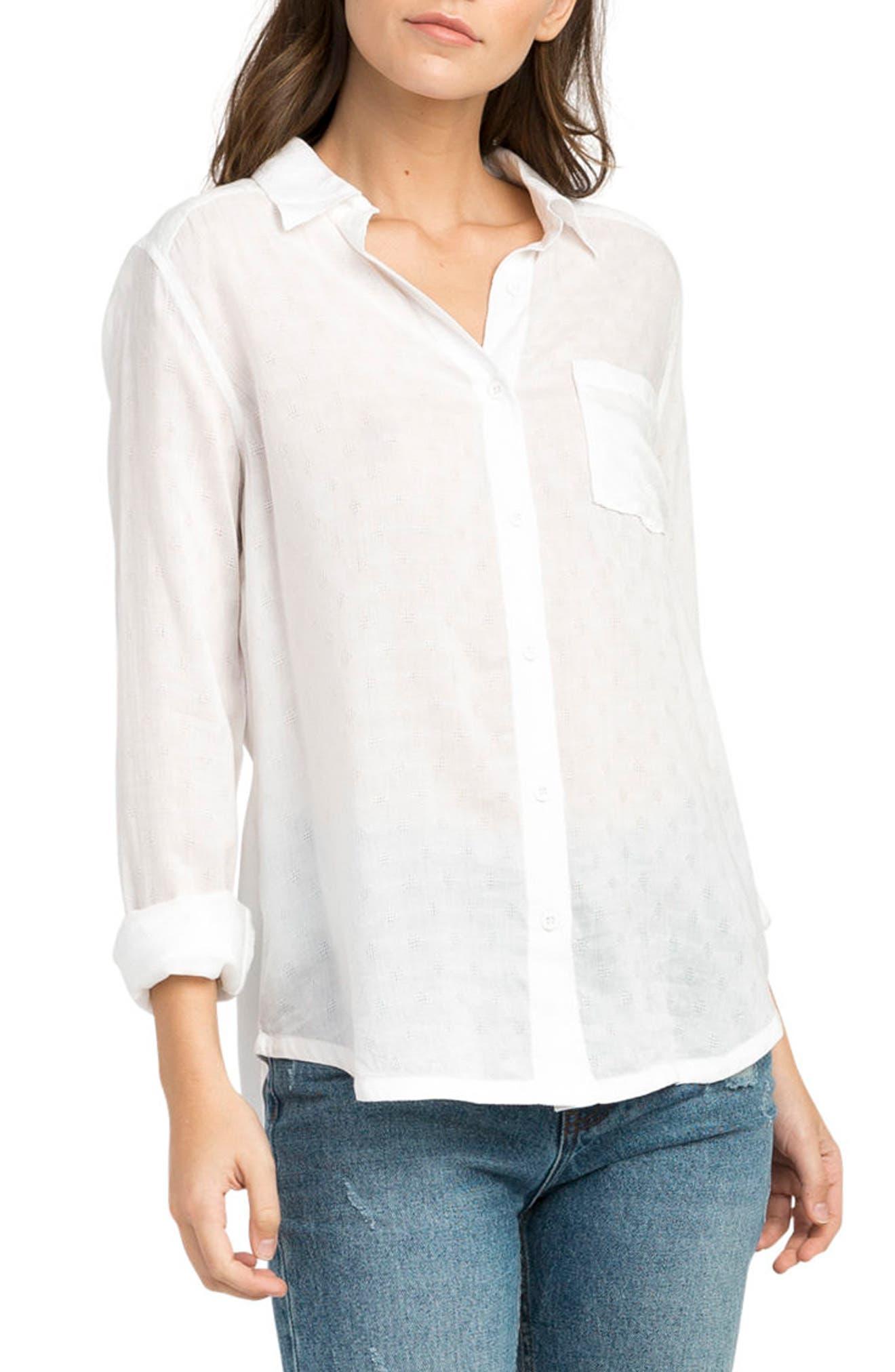 Denver Button Front Shirt,                         Main,                         color, Vintage White