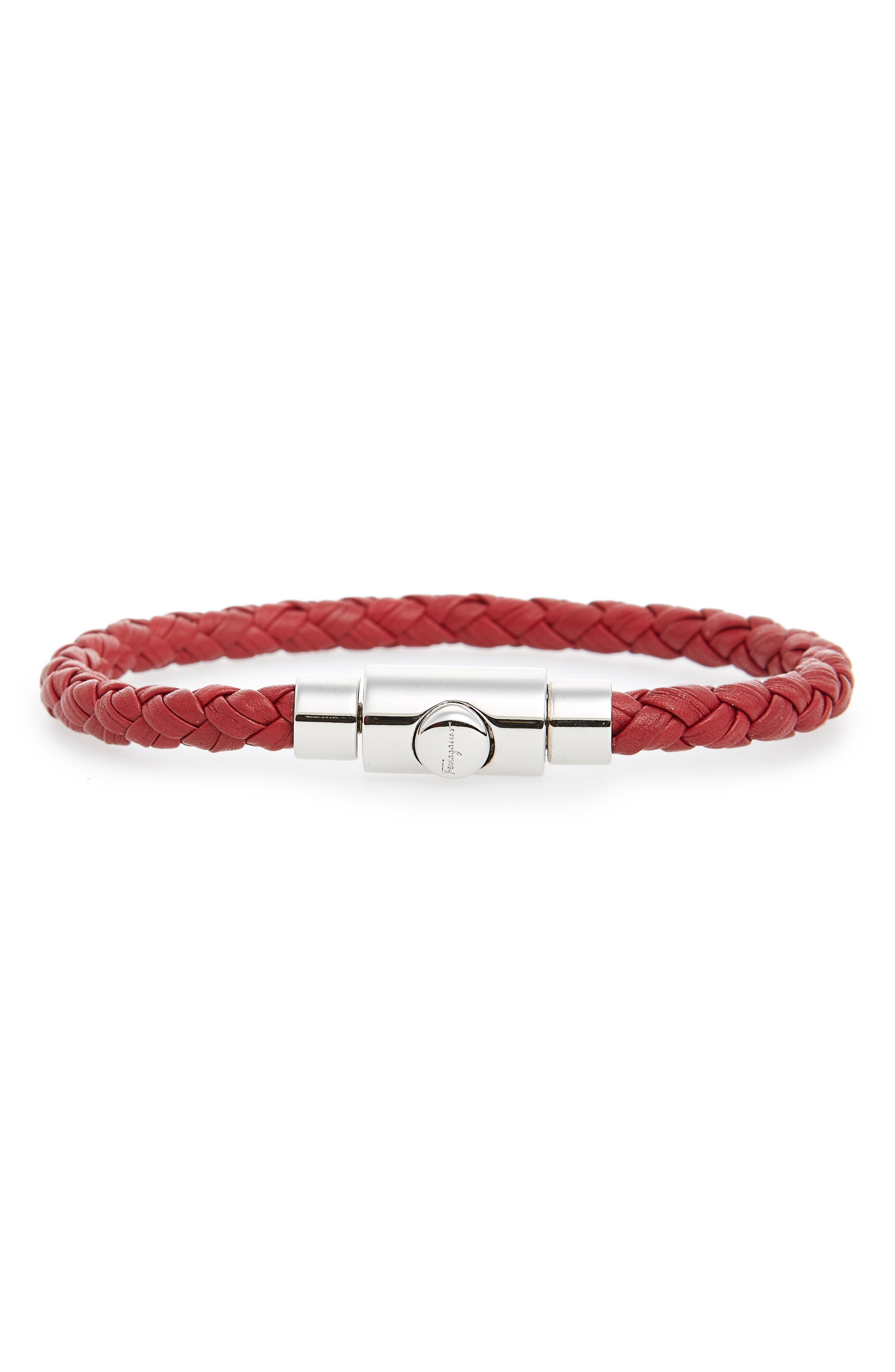 Braided Leather Bracelet,                         Main,                         color, Red