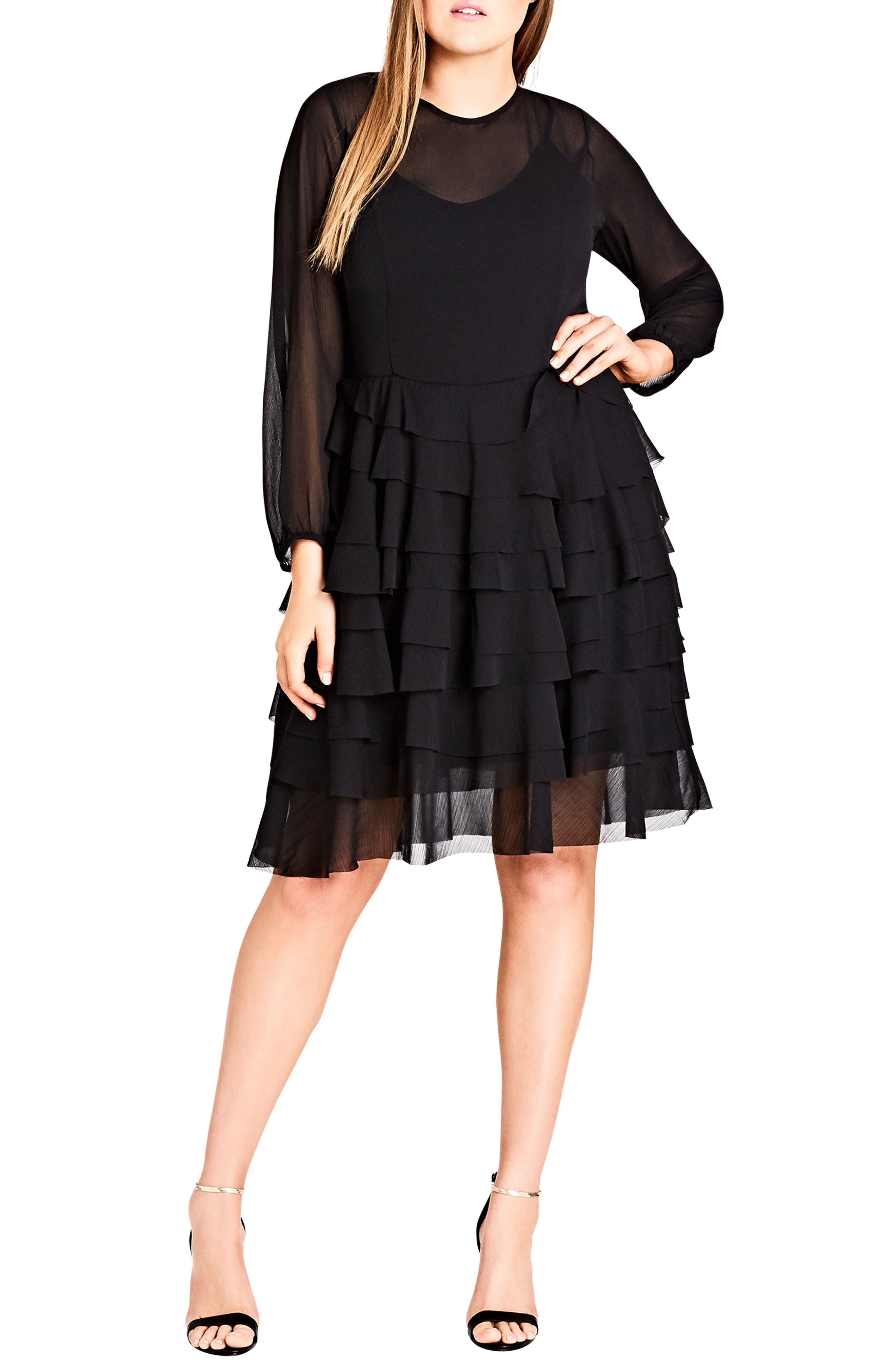 Tiered Love Ruffle Chiffon Dress,                             Main thumbnail 1, color,                             Black