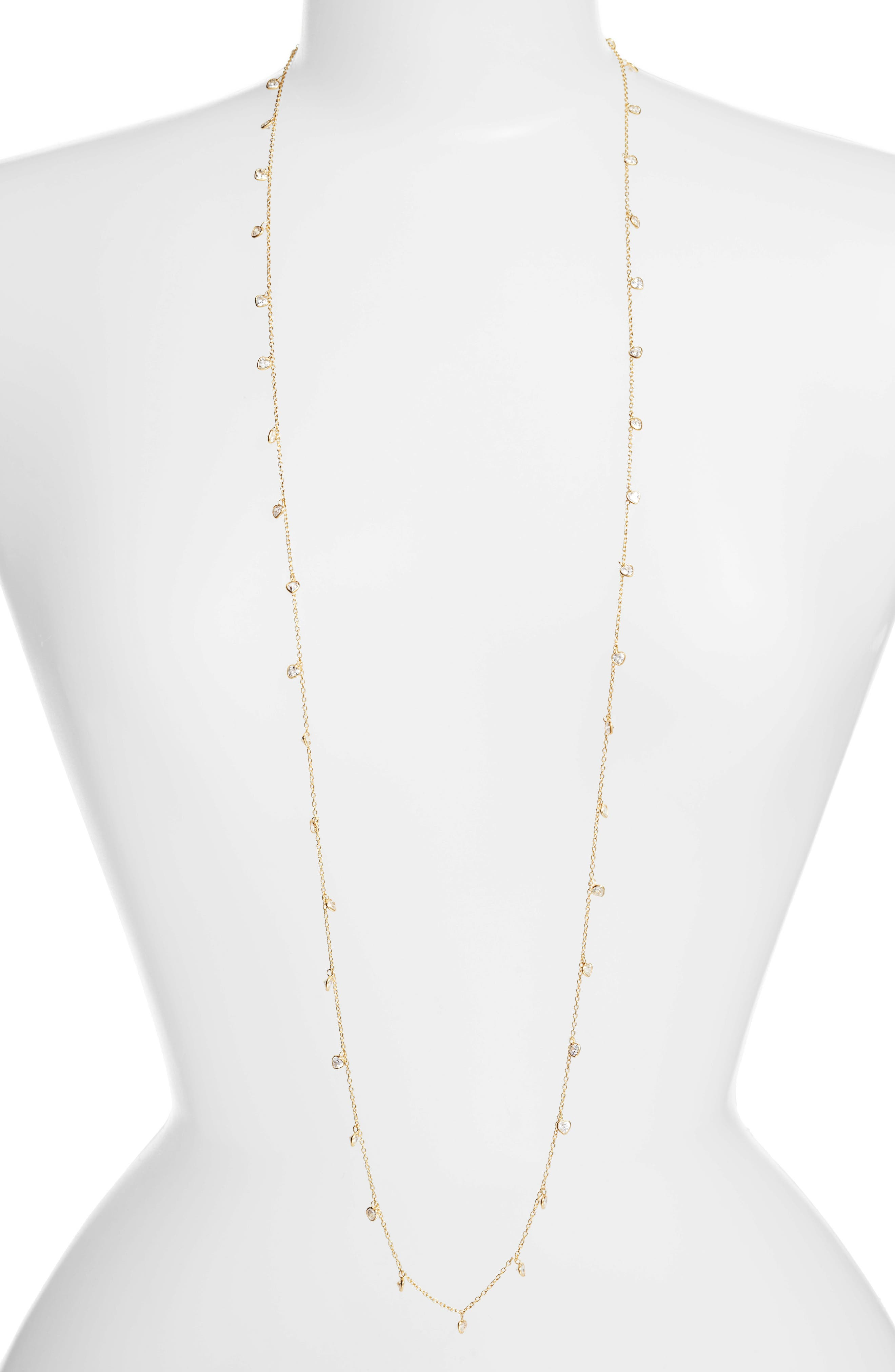 Diana Cubic Zirconia Necklace,                             Main thumbnail 1, color,                             Gold