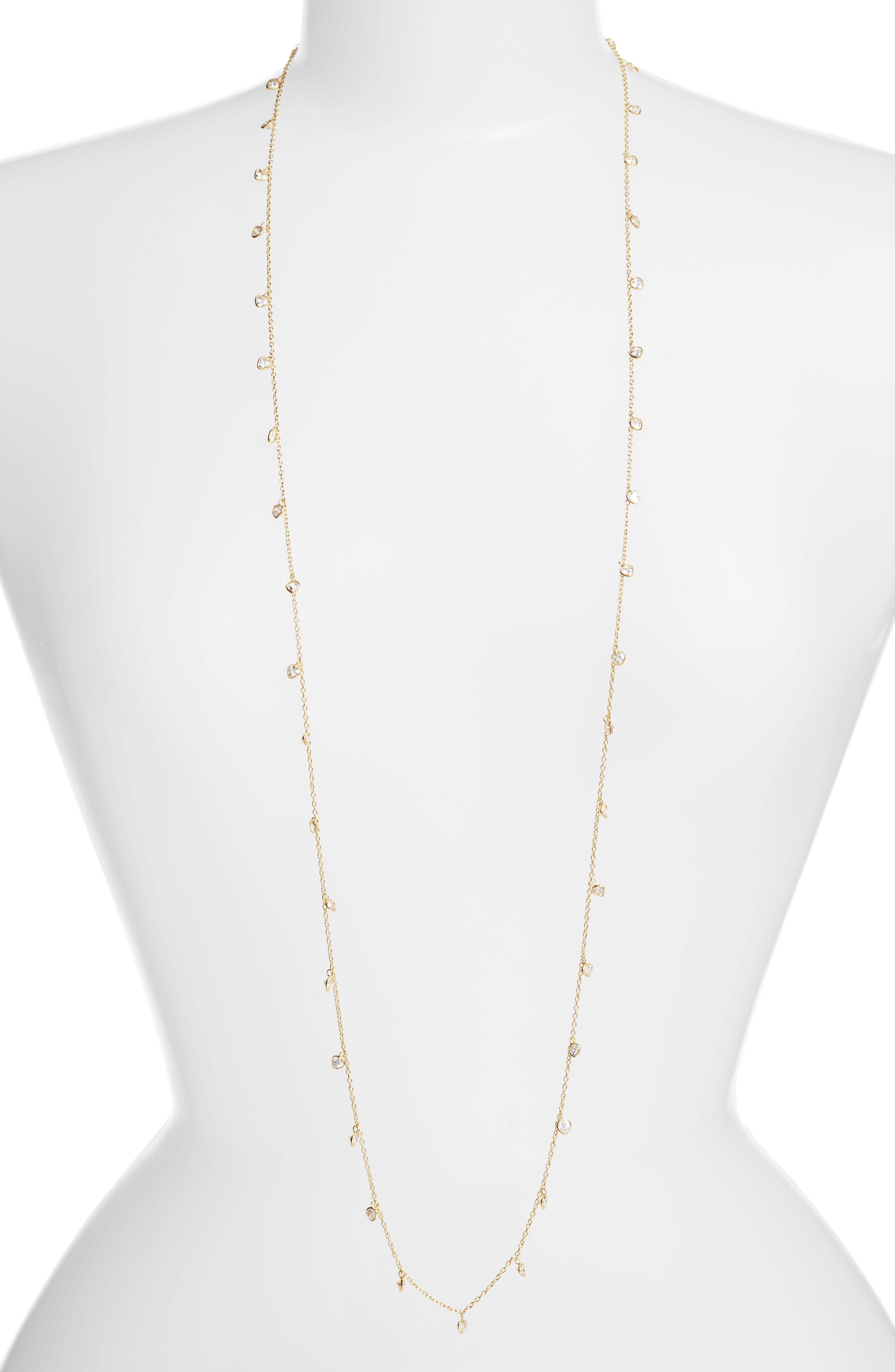 Diana Cubic Zirconia Necklace,                         Main,                         color, Gold