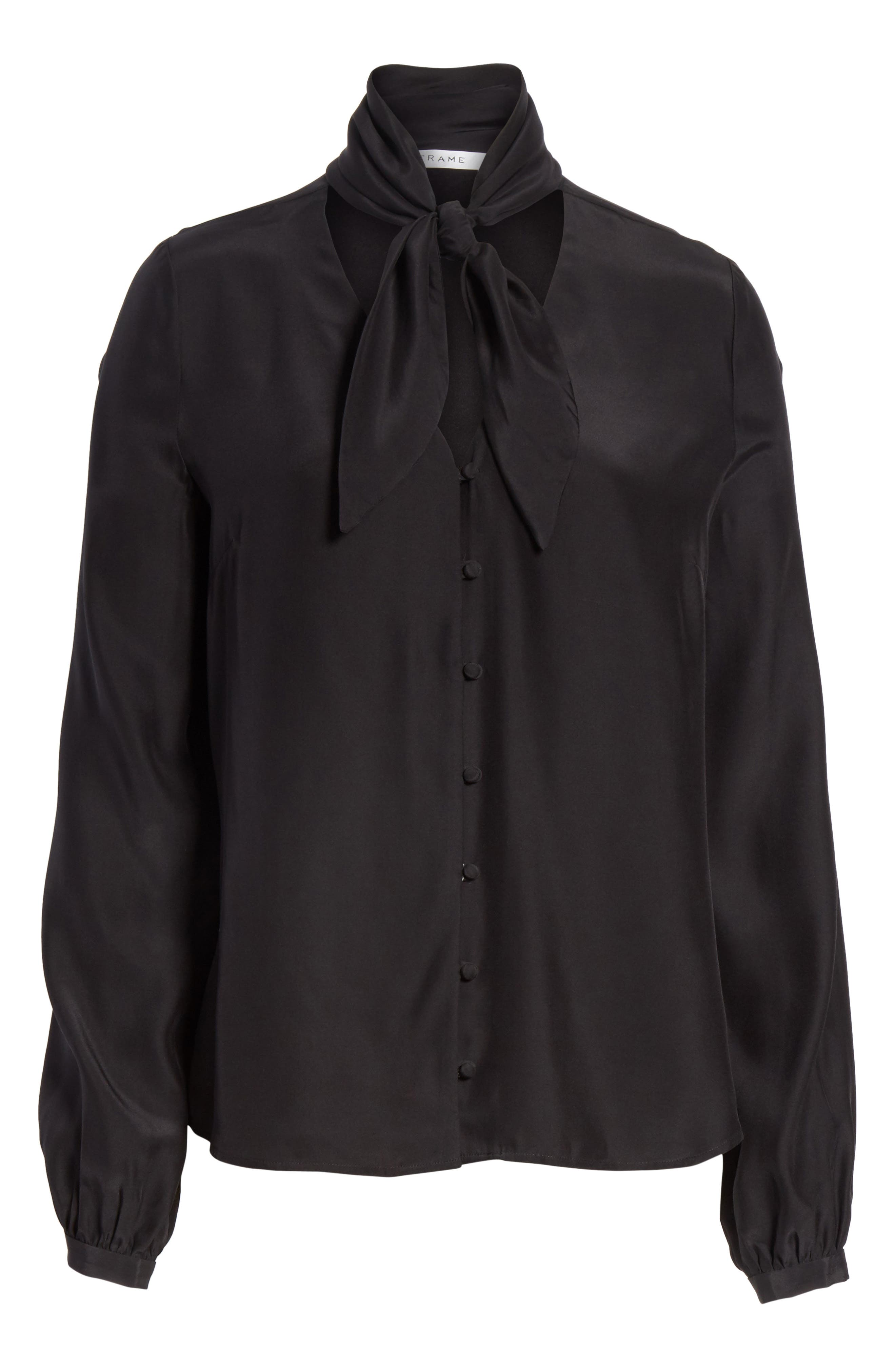 Alternate Image 7  - FRAME Tie Neck Silk Blouse