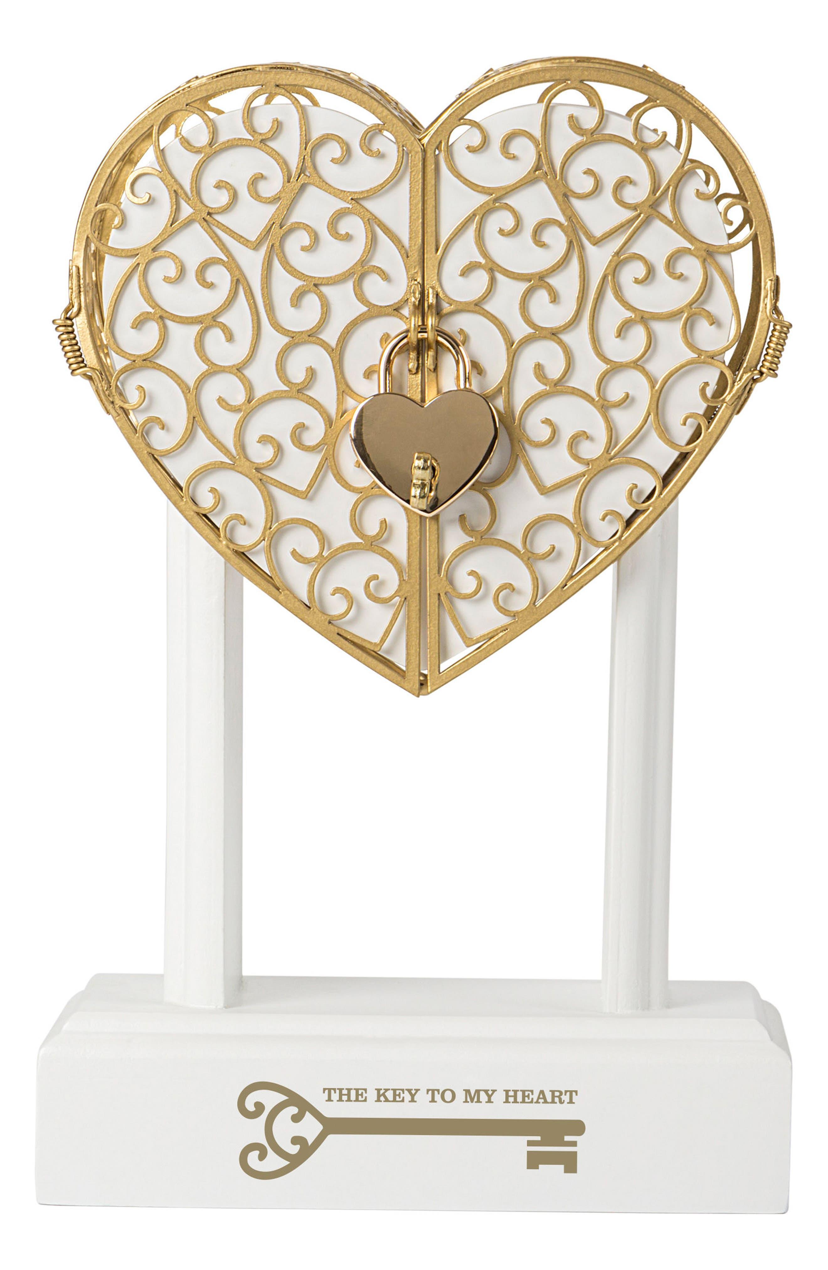 Key To My Heart Vow Unity Keepsake Box,                         Main,                         color, Gold
