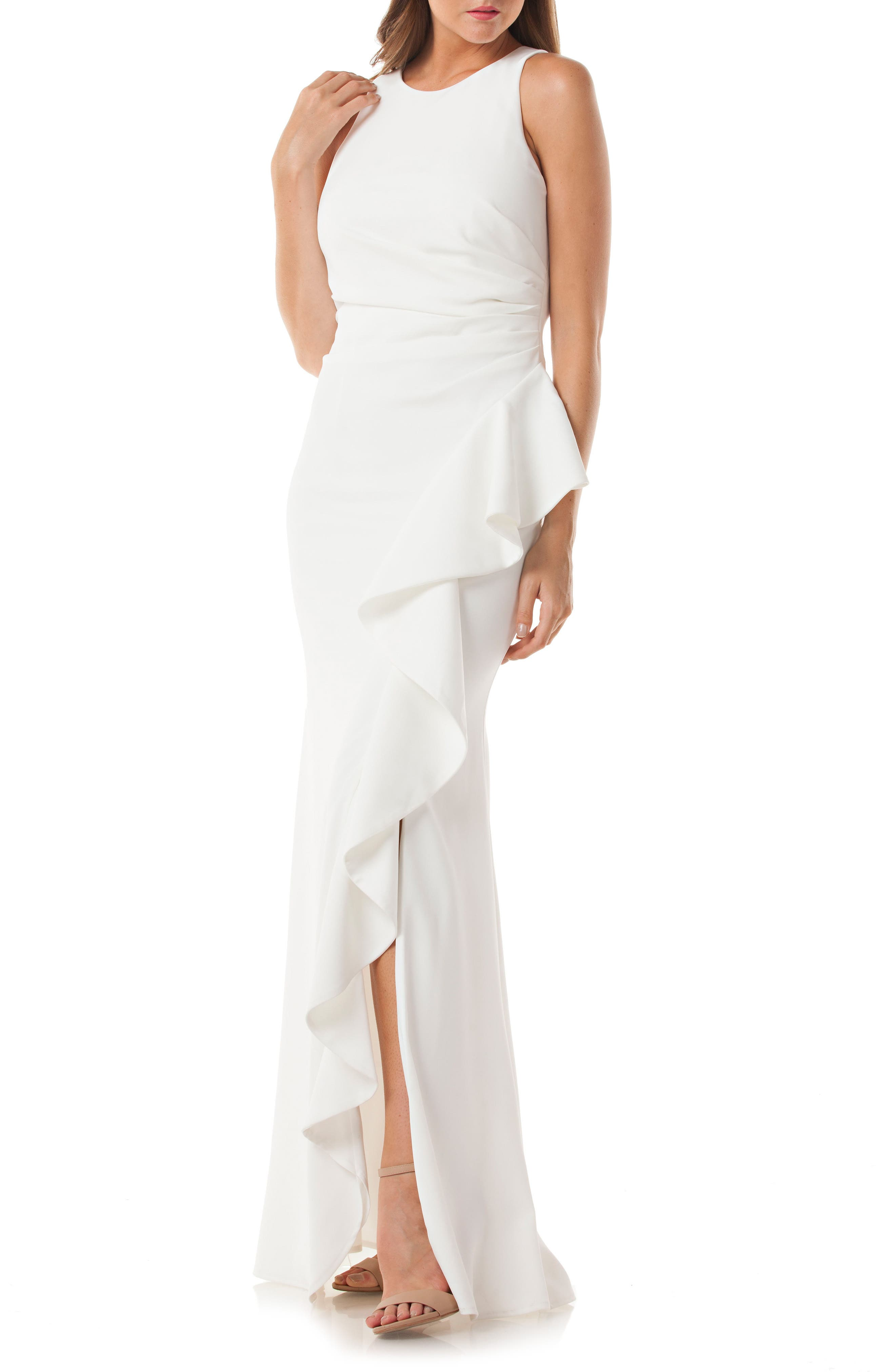 Cutaway Cascade Gown,                         Main,                         color, Ivory