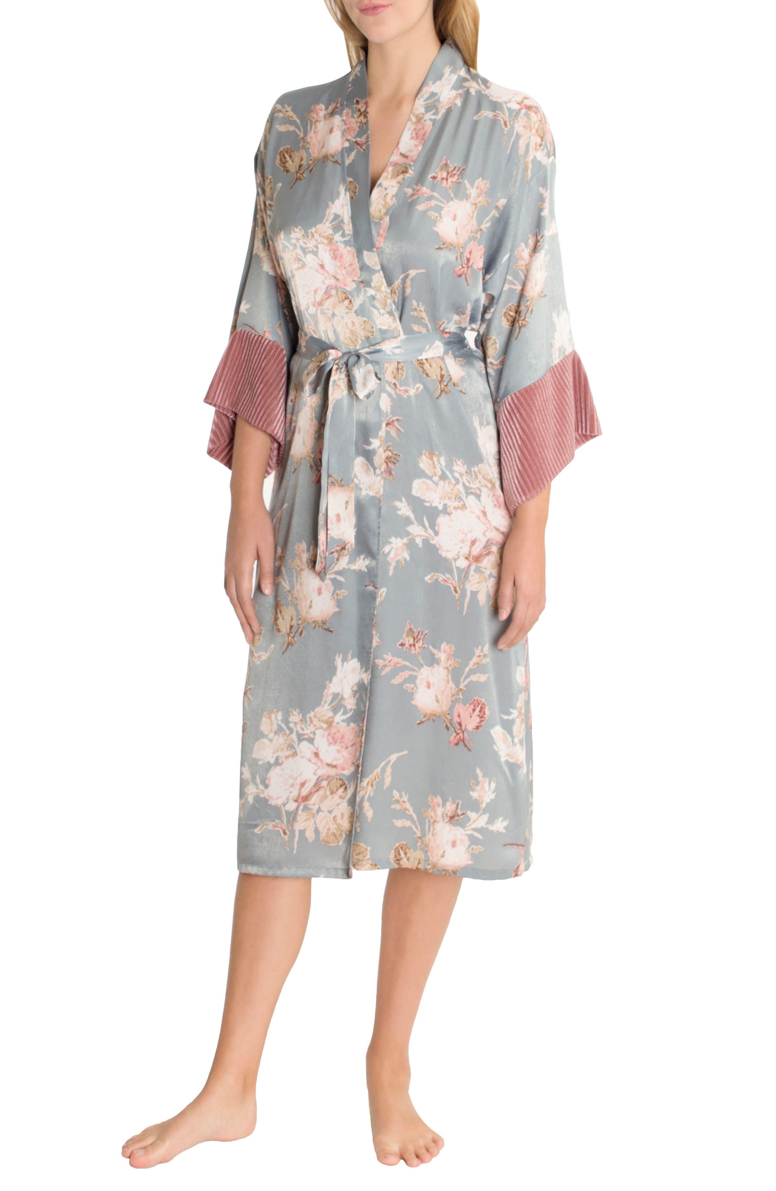 Satin Kimono Robe,                         Main,                         color, Rose Print