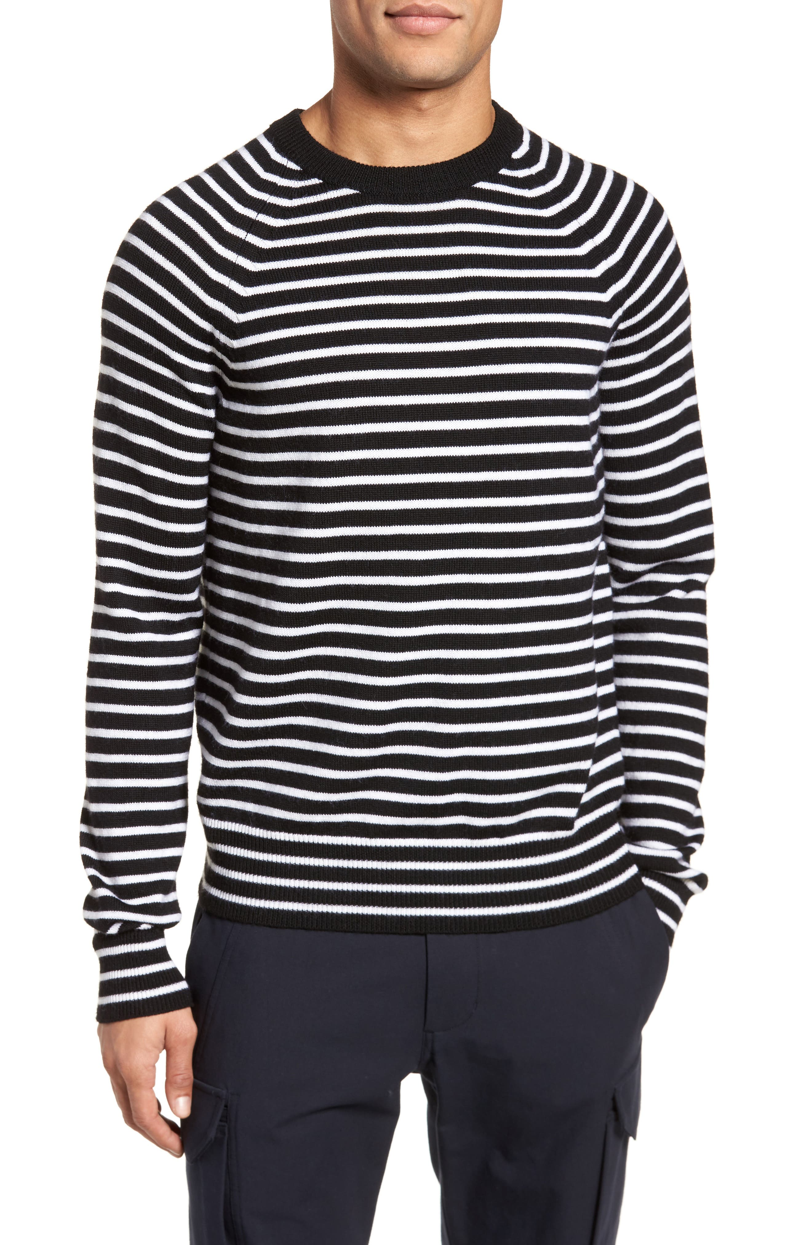 Regular Fit Striped Wool Sweater,                             Main thumbnail 1, color,                             Black/ Stormy White