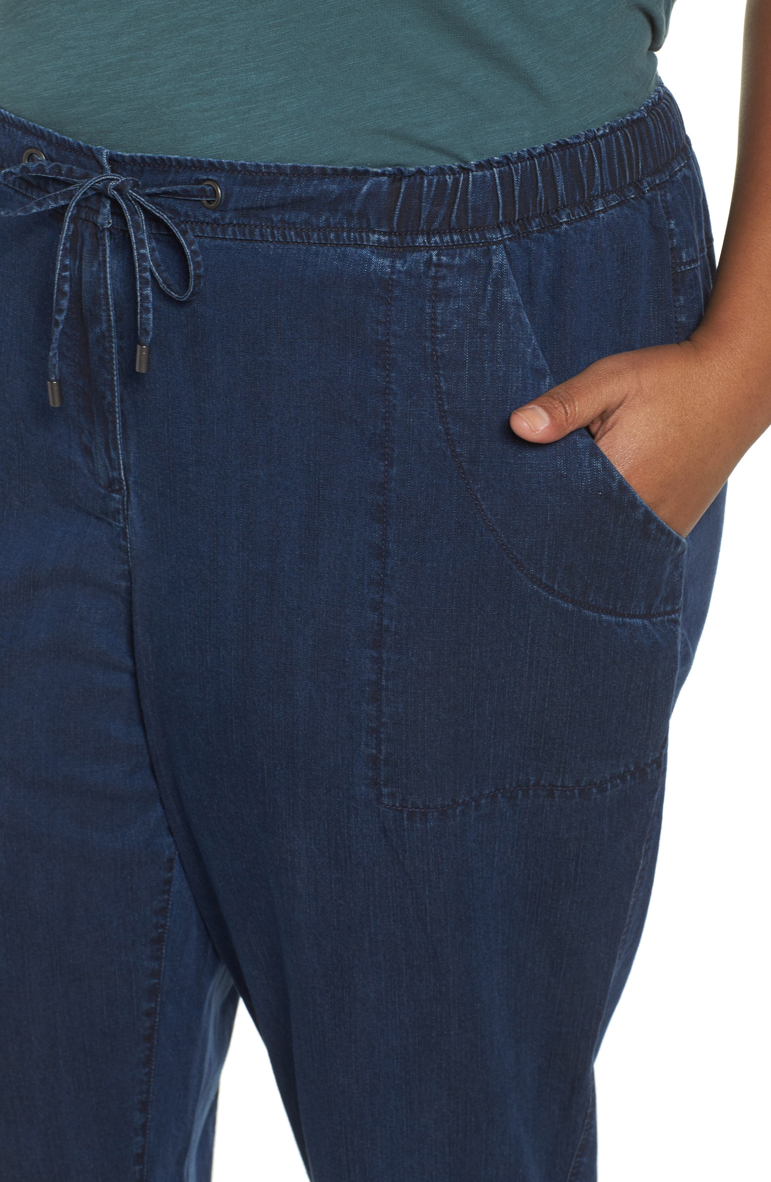 Alternate Image 4  - Eileen Fisher Slouchy Denim Ankle Pants (Plus Size)