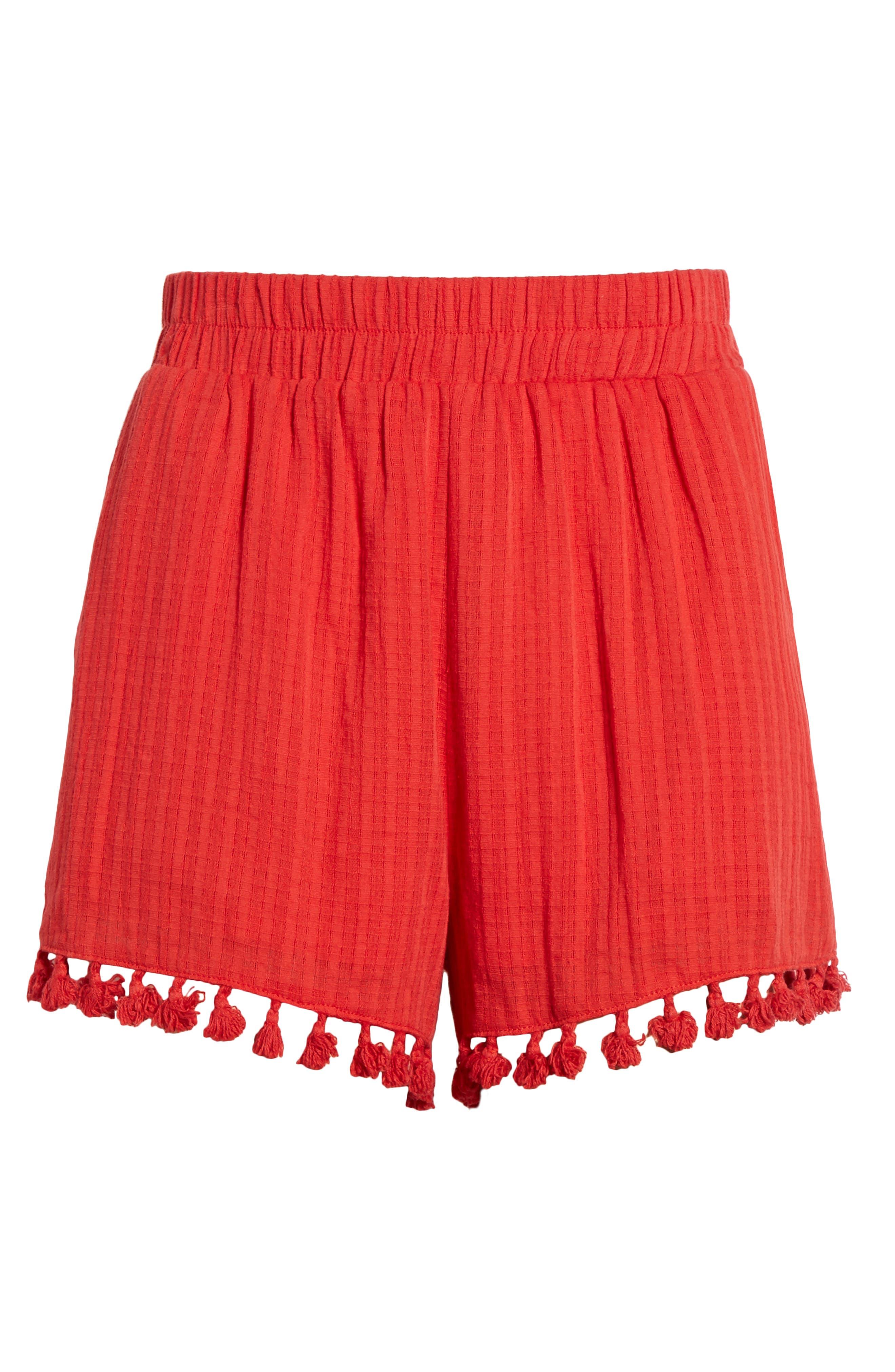 Pompom Trim Shorts,                             Alternate thumbnail 7, color,                             Red