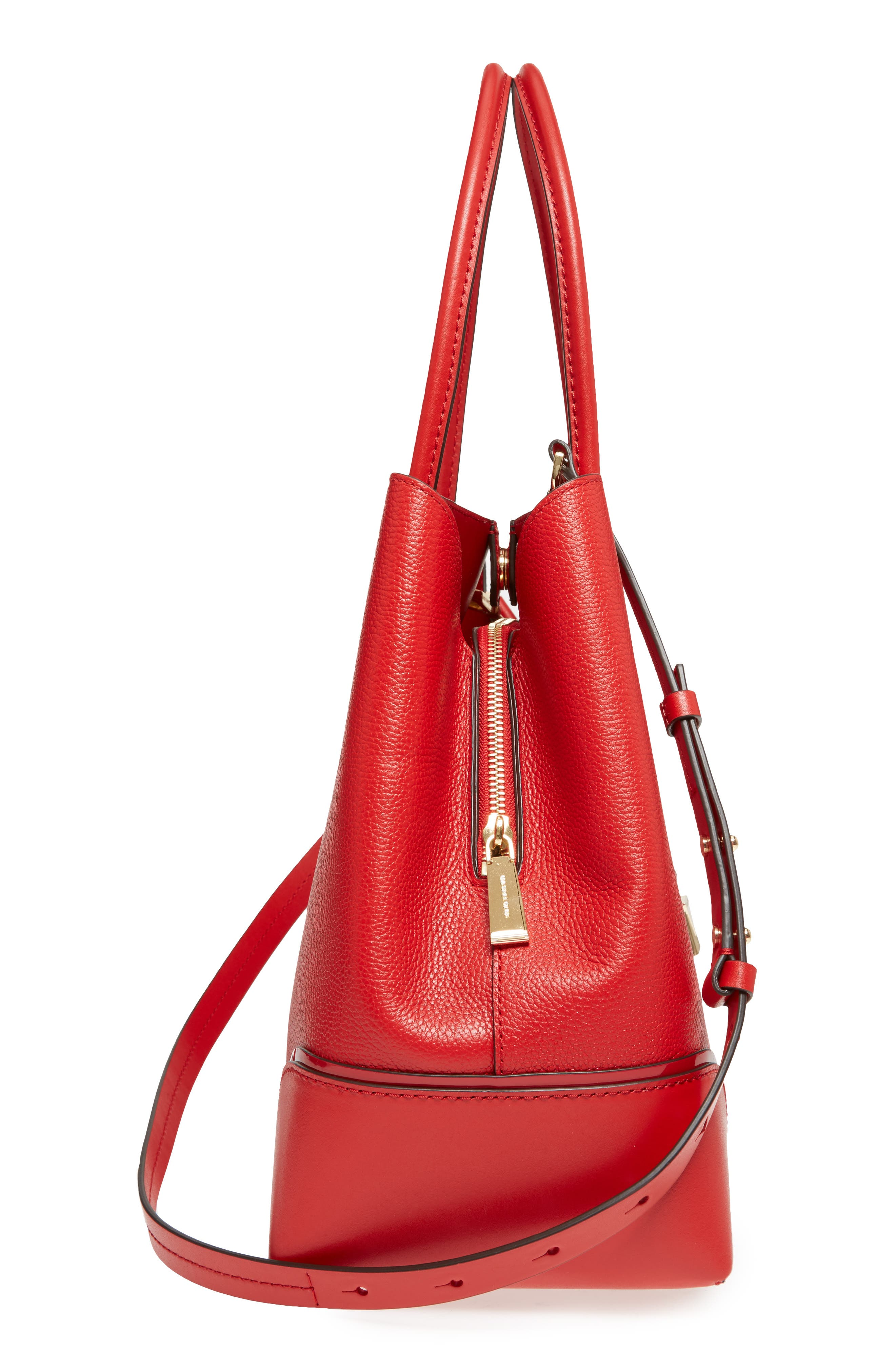 MICHAEL Michael Kors Large Mercer Leather Tote,                             Alternate thumbnail 4, color,                             Bright Red