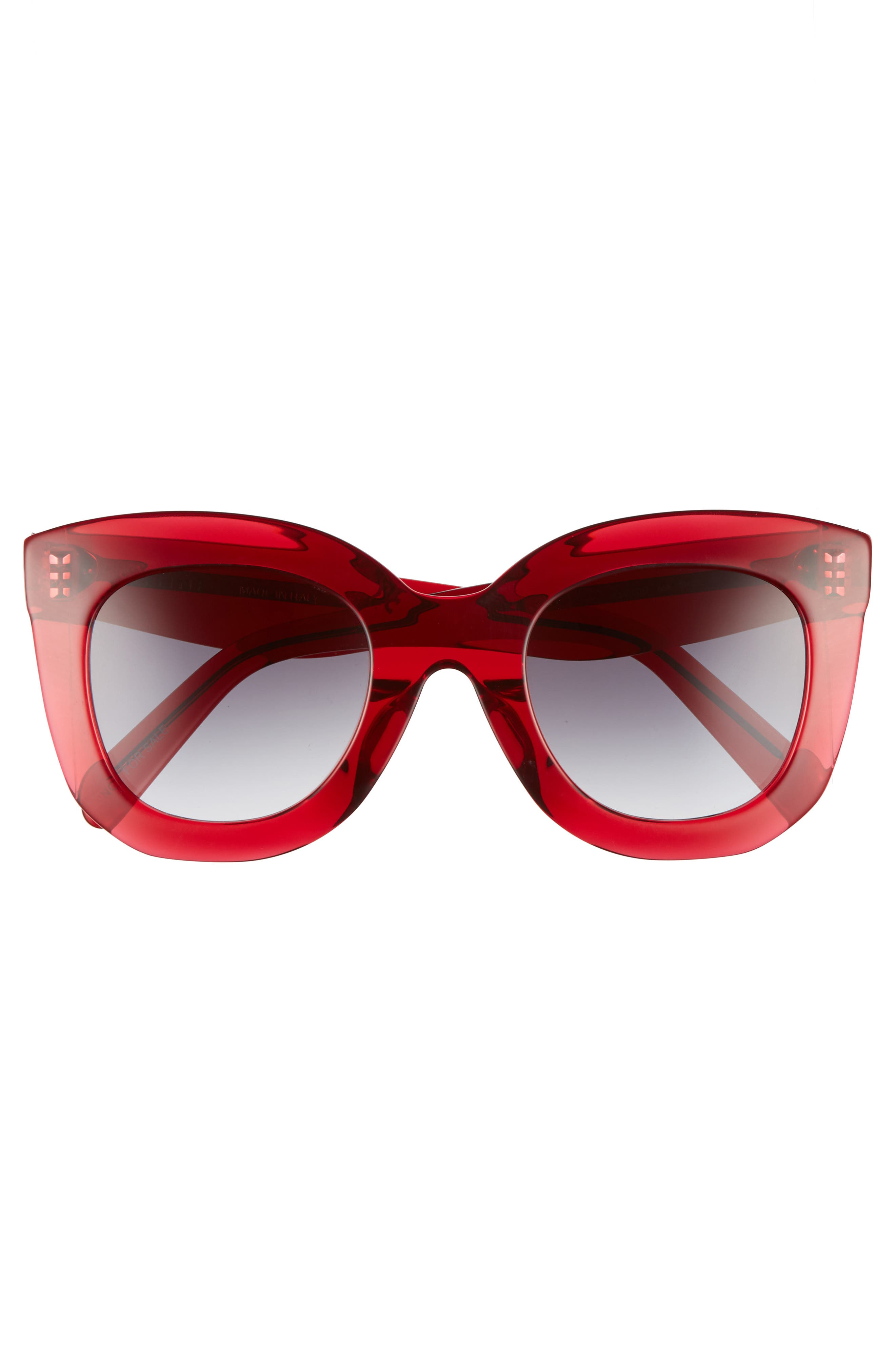 Special Fit 49mm Cat Eye Sunglasses,                             Alternate thumbnail 3, color,                             Red/ Smoke