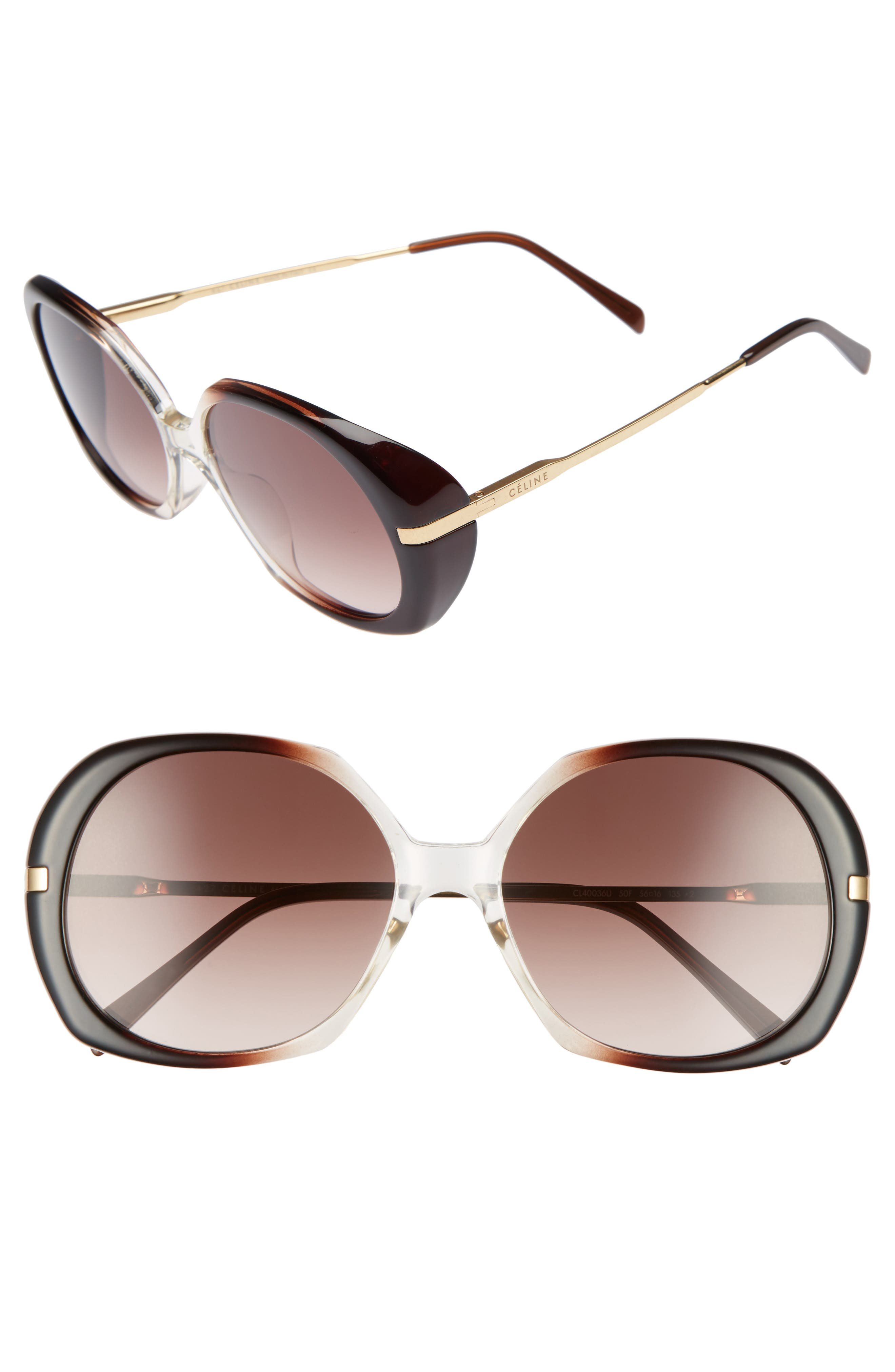 56mm Round Sunglasses,                         Main,                         color, Dark Brown/ Light Gold/ Brown