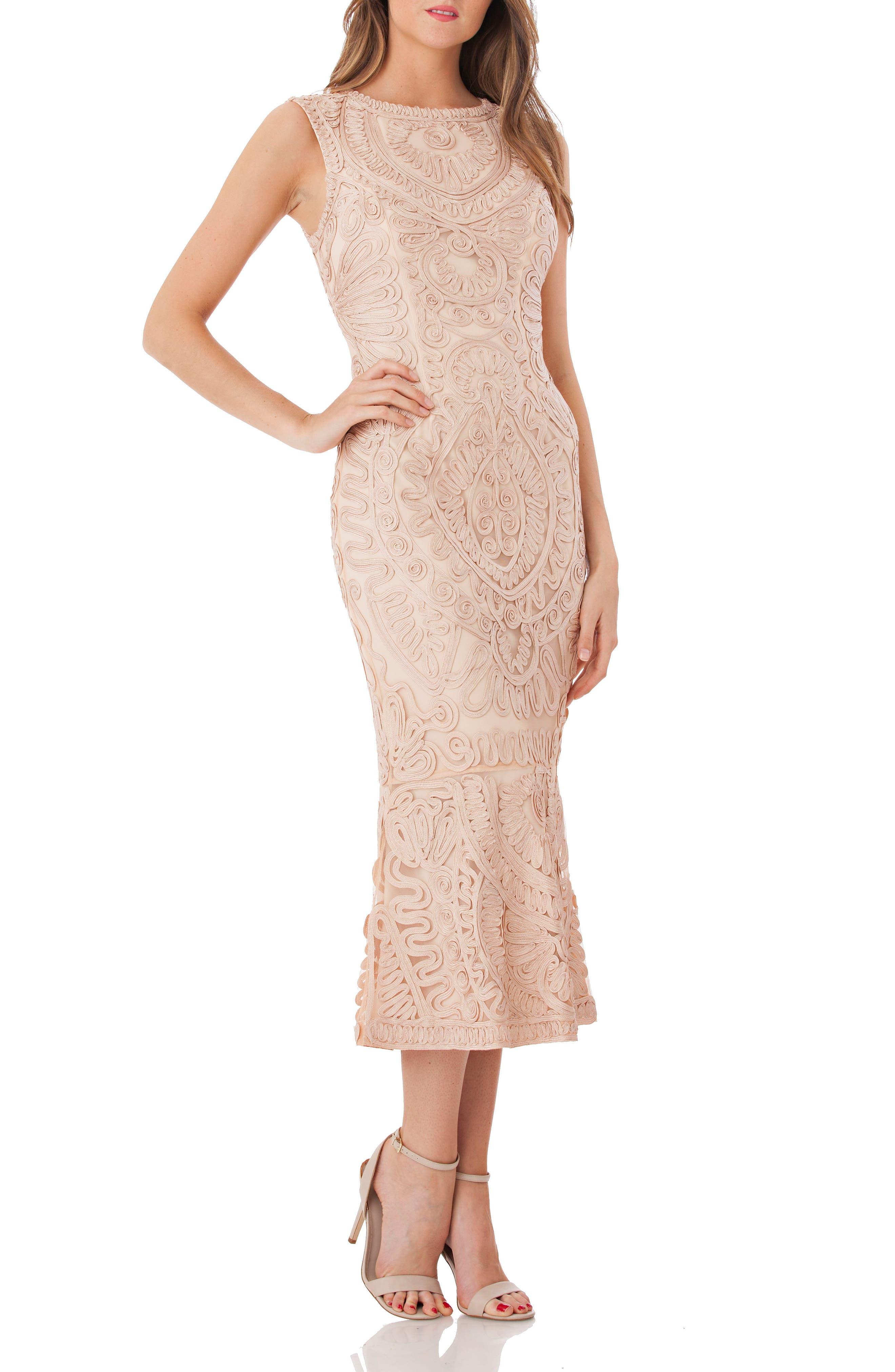 Alternate Image 1 Selected - JS Collections Soutache Mesh Dress (Regular & Petite)