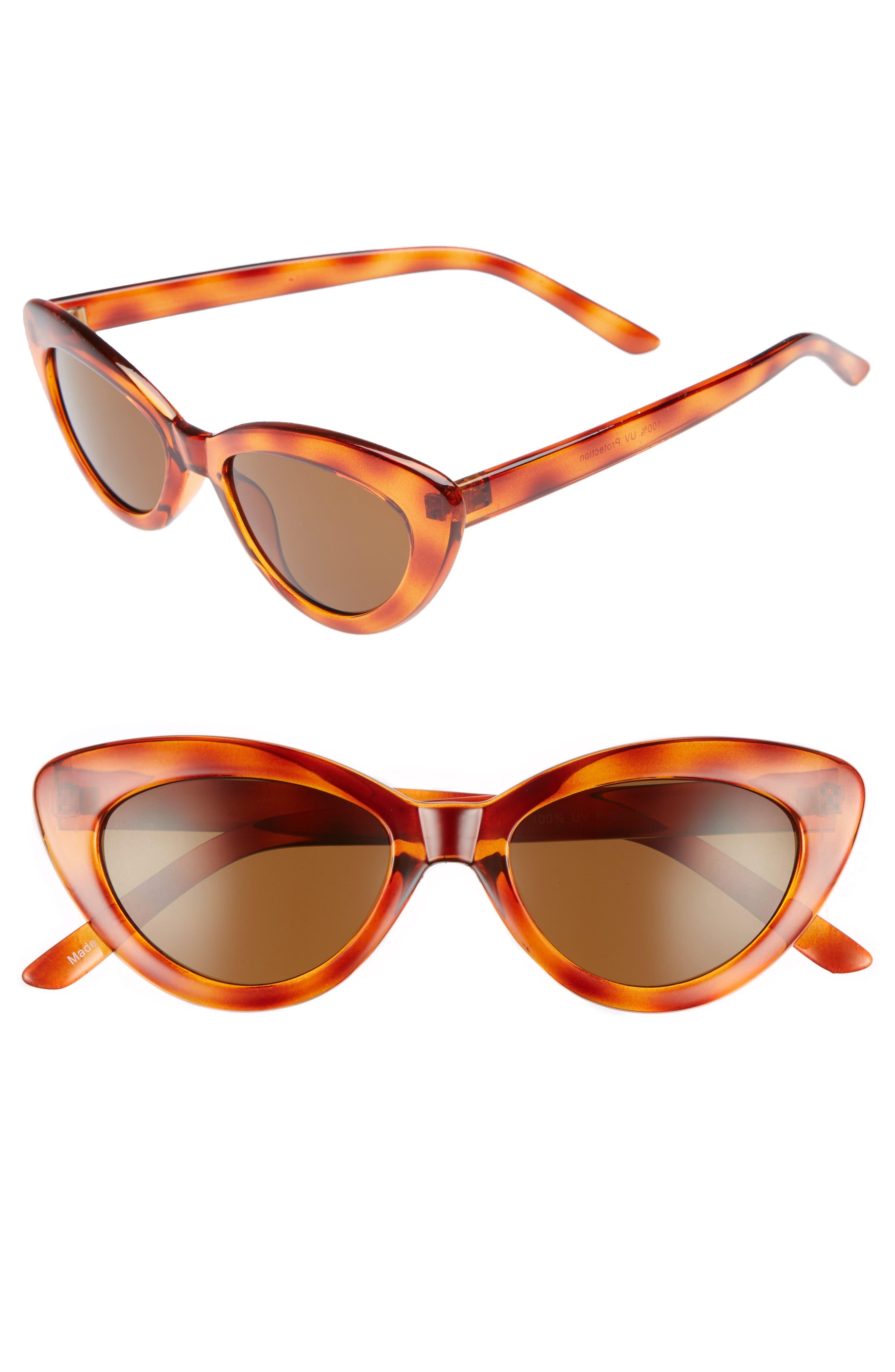 51mm Mini Cat Eye Sunglasses,                             Main thumbnail 1, color,                             Tort
