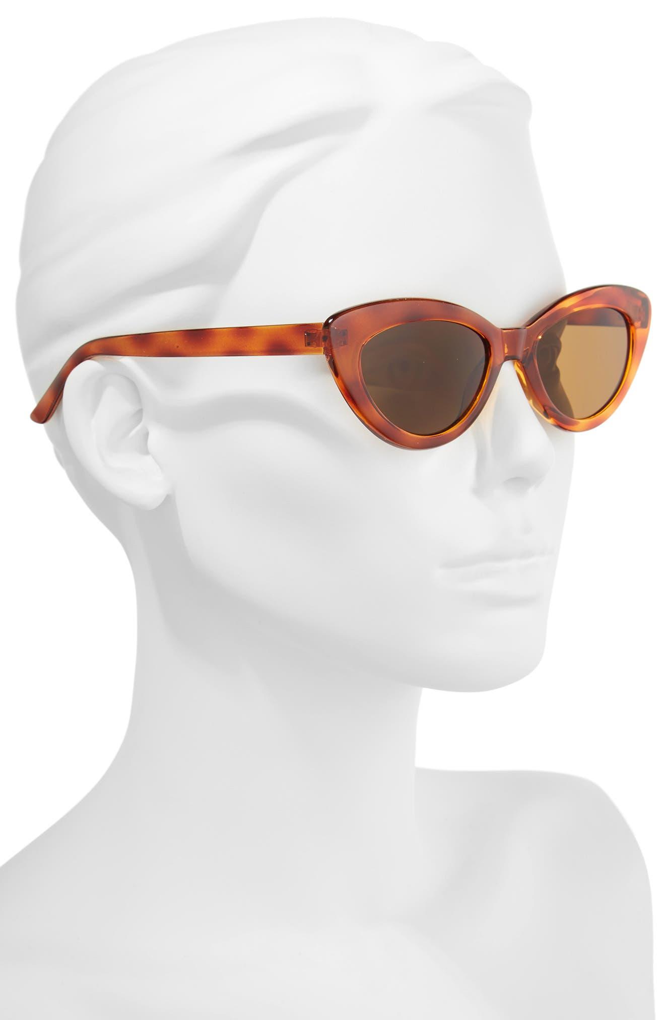 51mm Mini Cat Eye Sunglasses,                             Alternate thumbnail 2, color,                             Tort