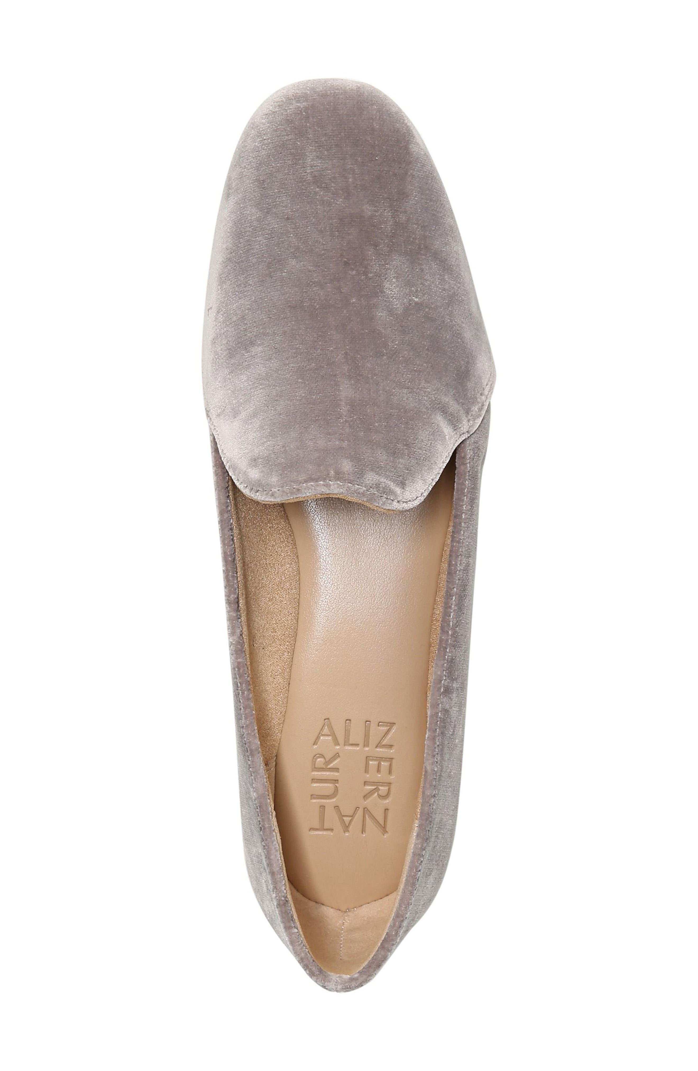 Emiline Flat Loafer,                             Alternate thumbnail 5, color,                             Taupe Velvet Fabric