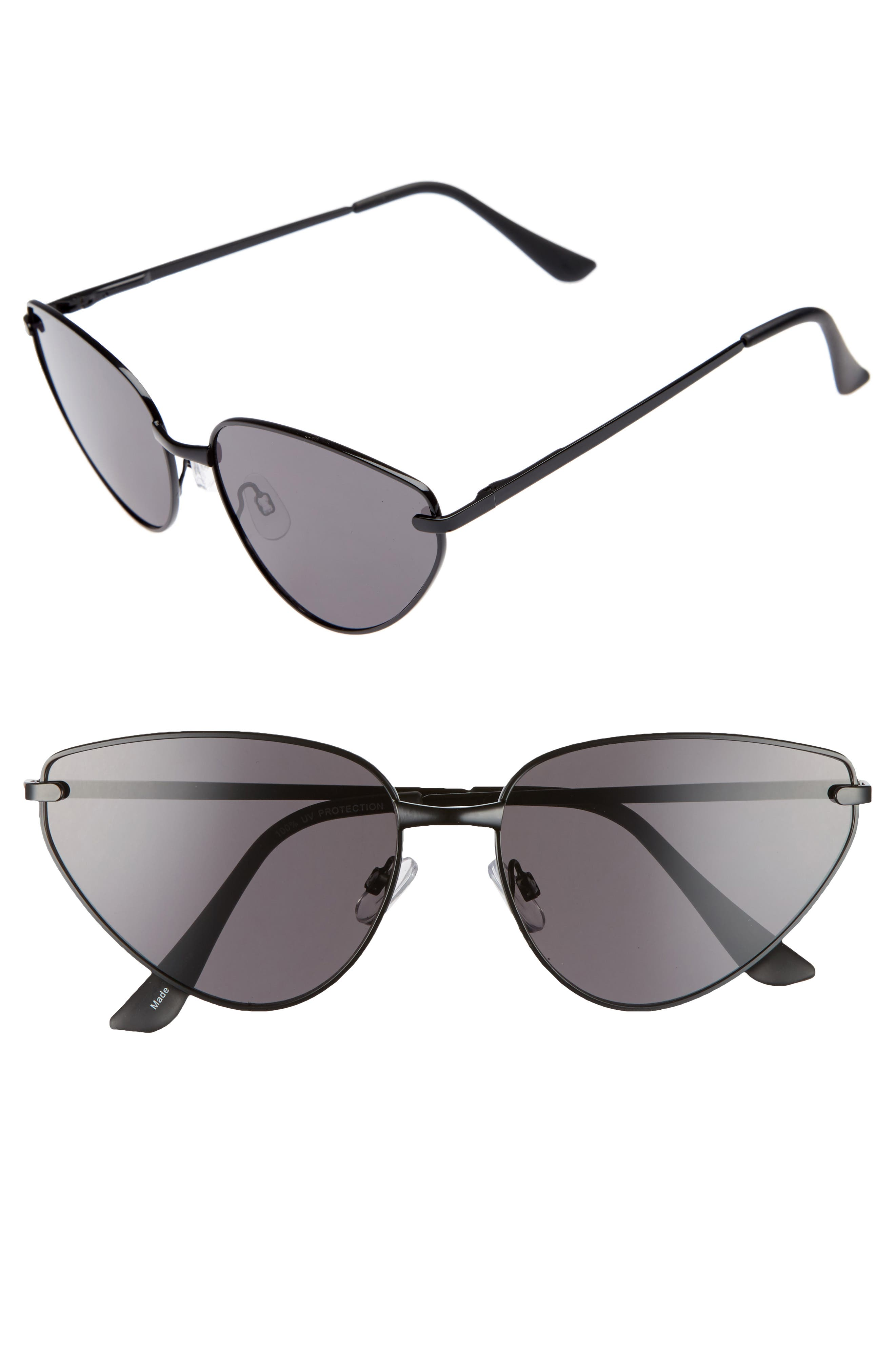 60mm Exaggerated Cat Eye Sunglasses,                         Main,                         color, Black