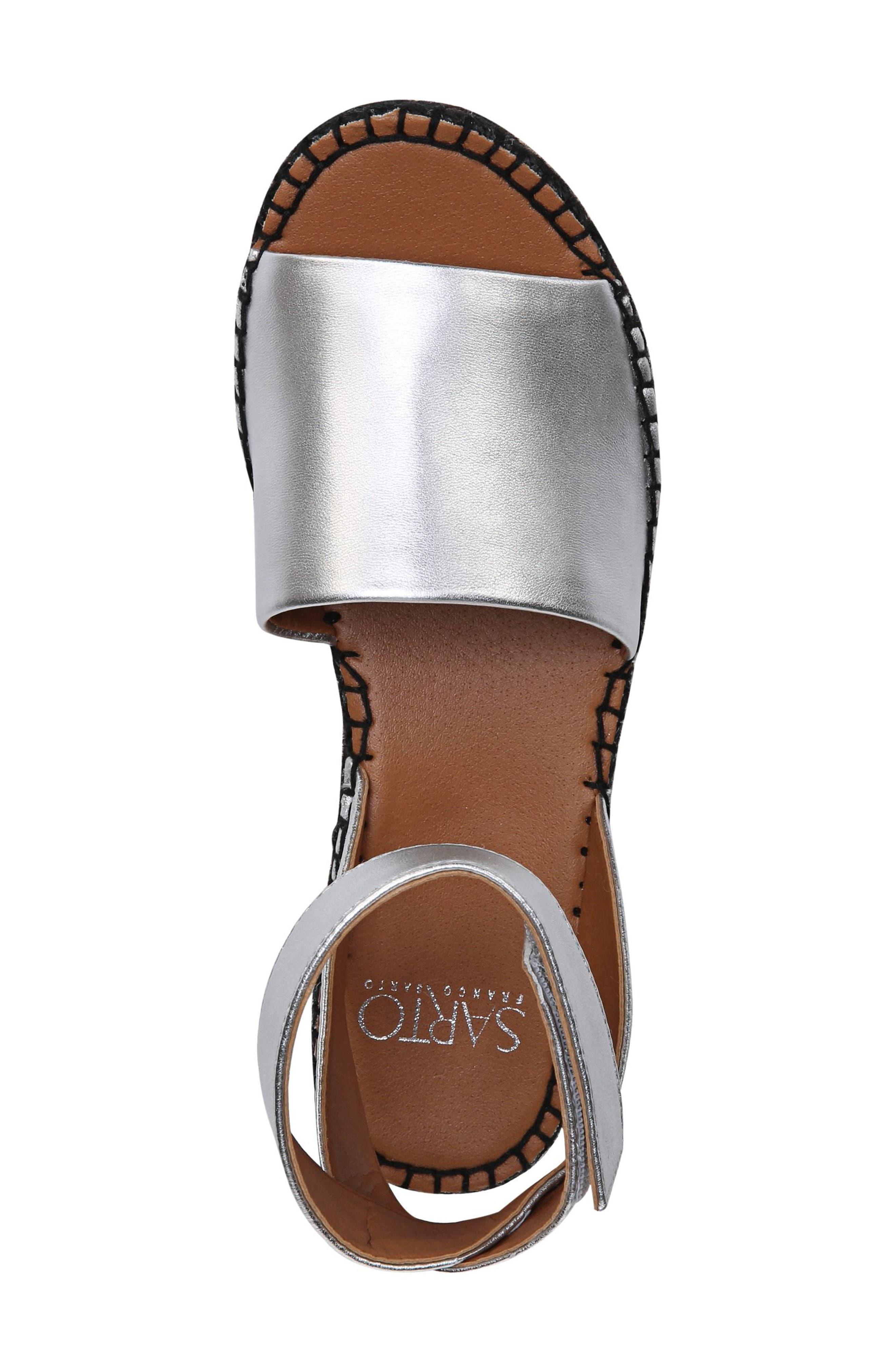 Maisi Platform Espadrille Sandal,                             Alternate thumbnail 5, color,                             Silver Leather