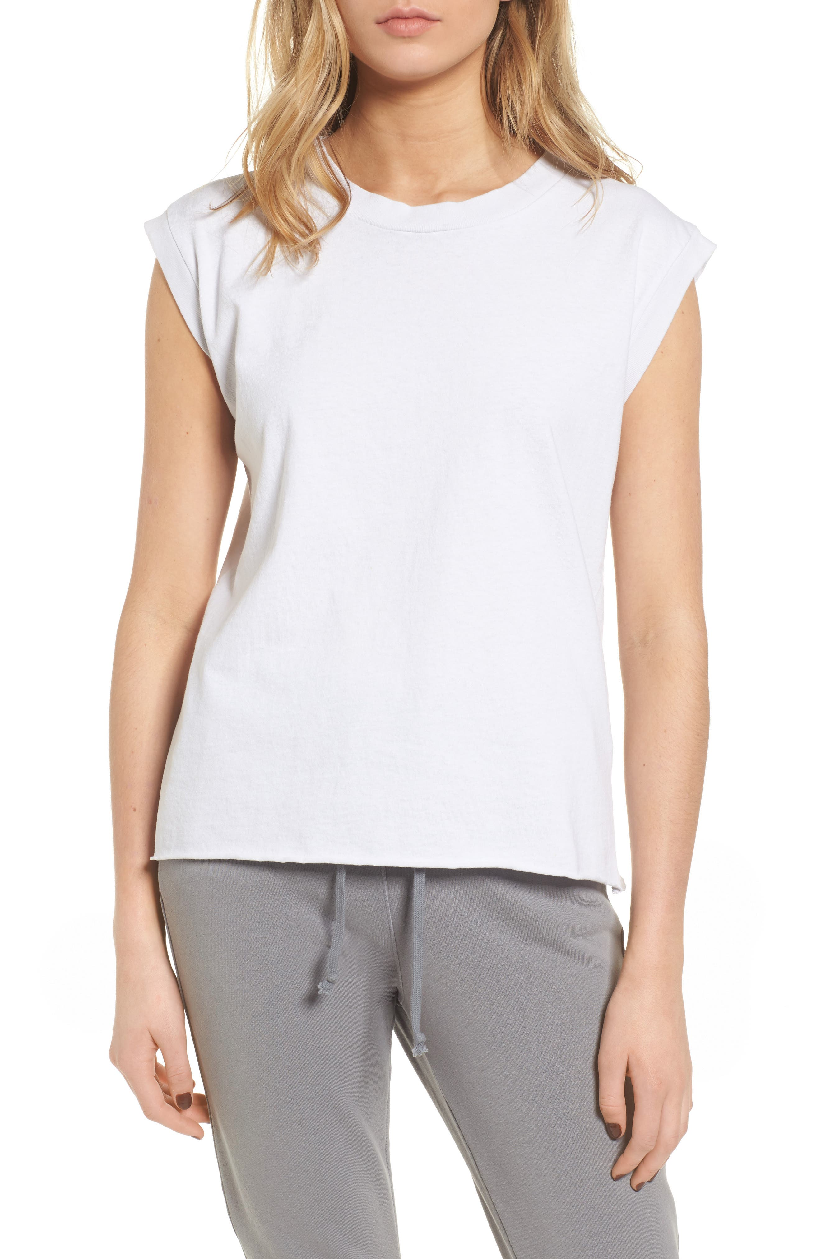 Tee Lab Muscle Tank,                             Main thumbnail 1, color,                             Dirty White