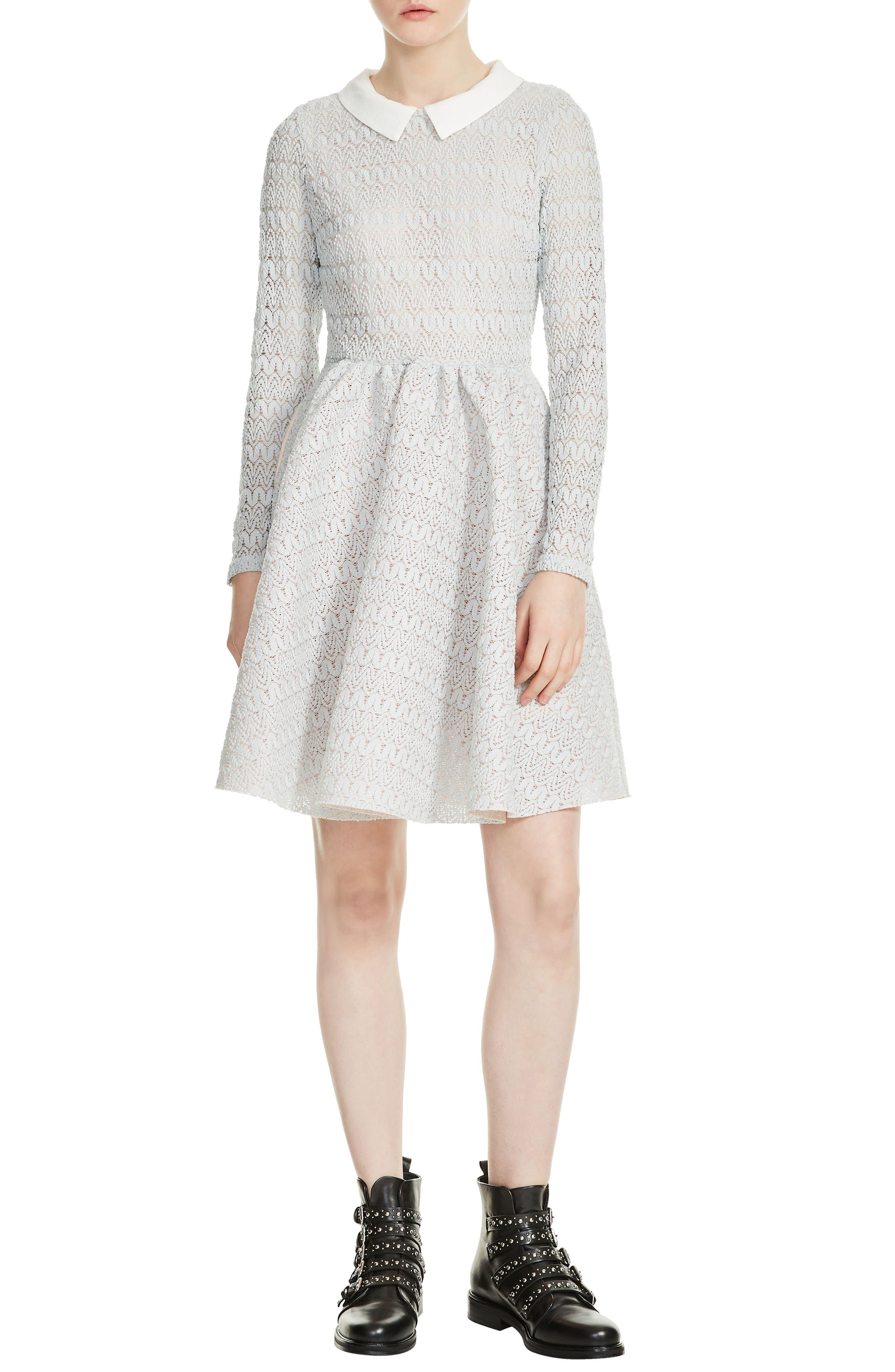 Rayone Lace Dress,                         Main,                         color, Blue Sky