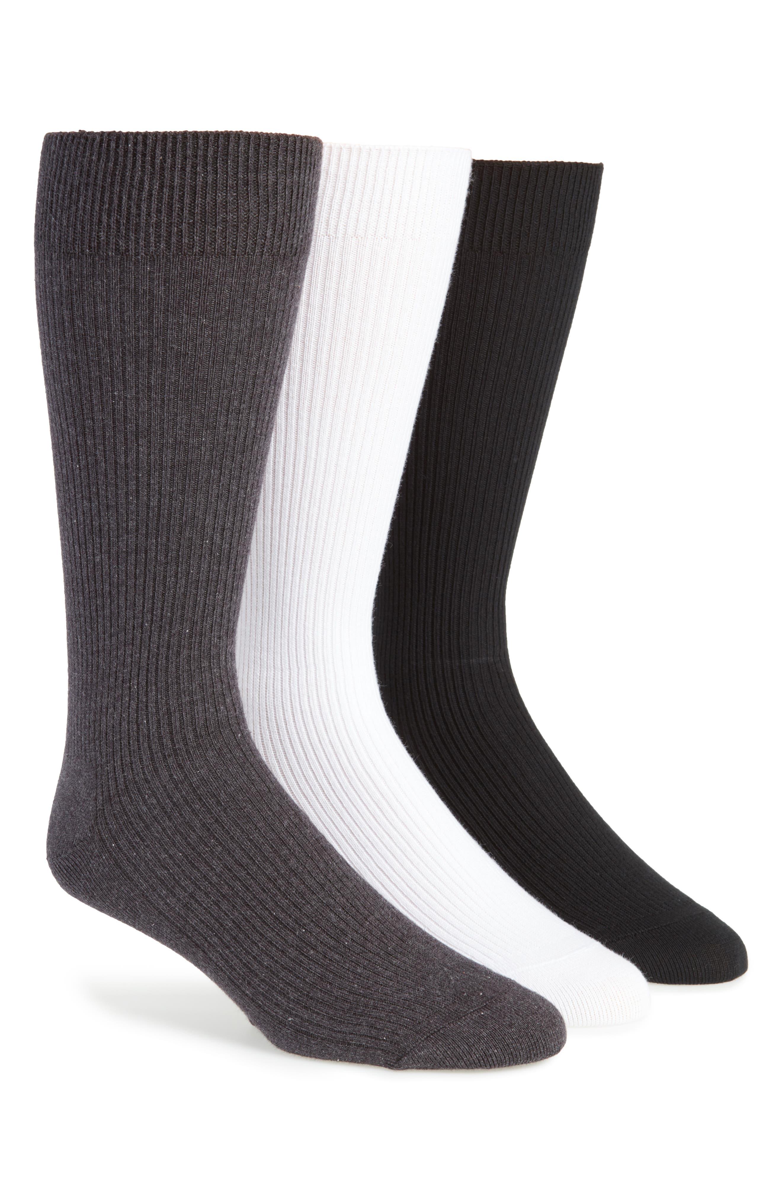 3-Pack Socks,                         Main,                         color, White/ Black/ Charcoal