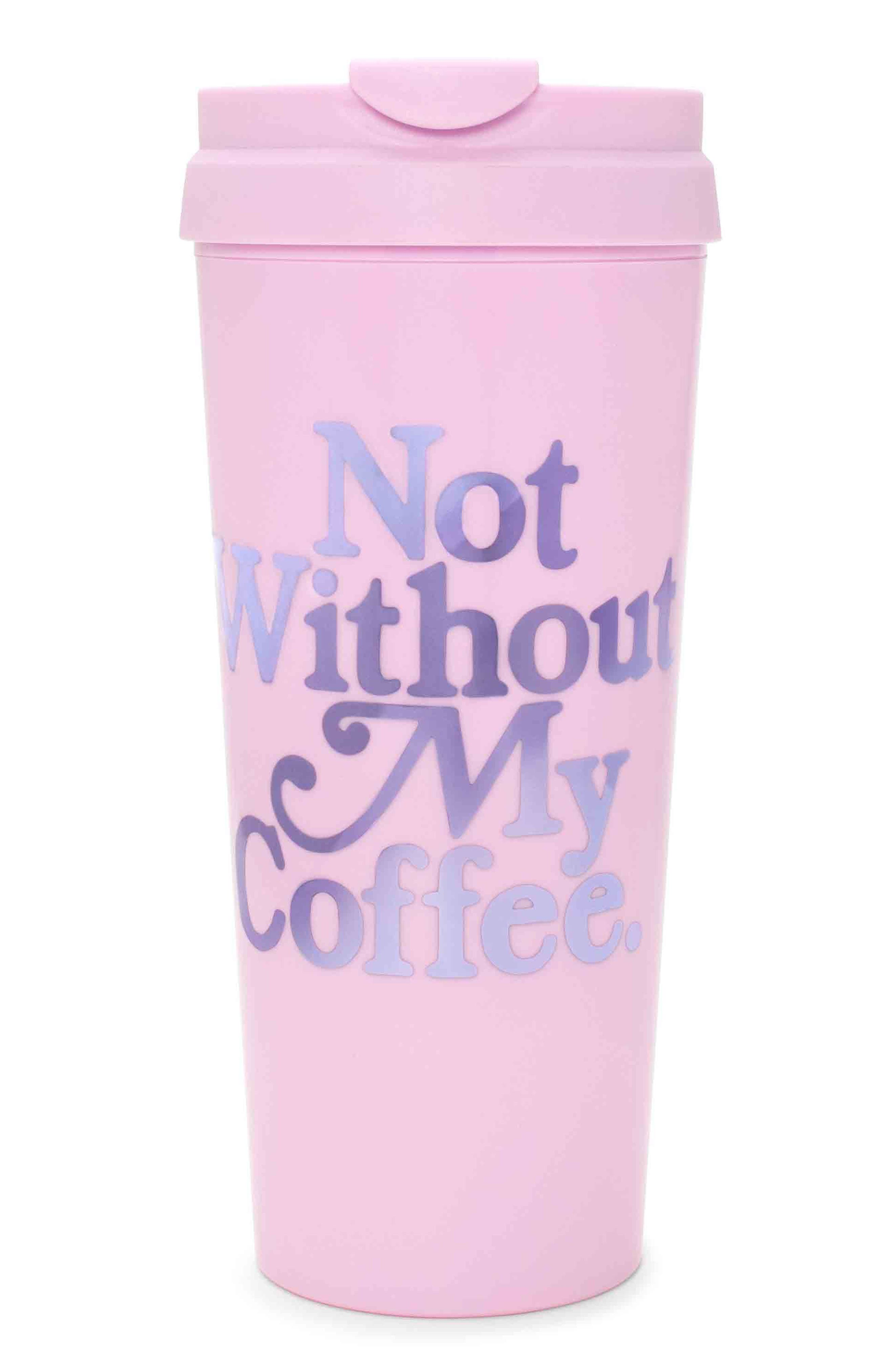 Not Without My Coffee Travel Mug,                             Main thumbnail 1, color,                             Purple