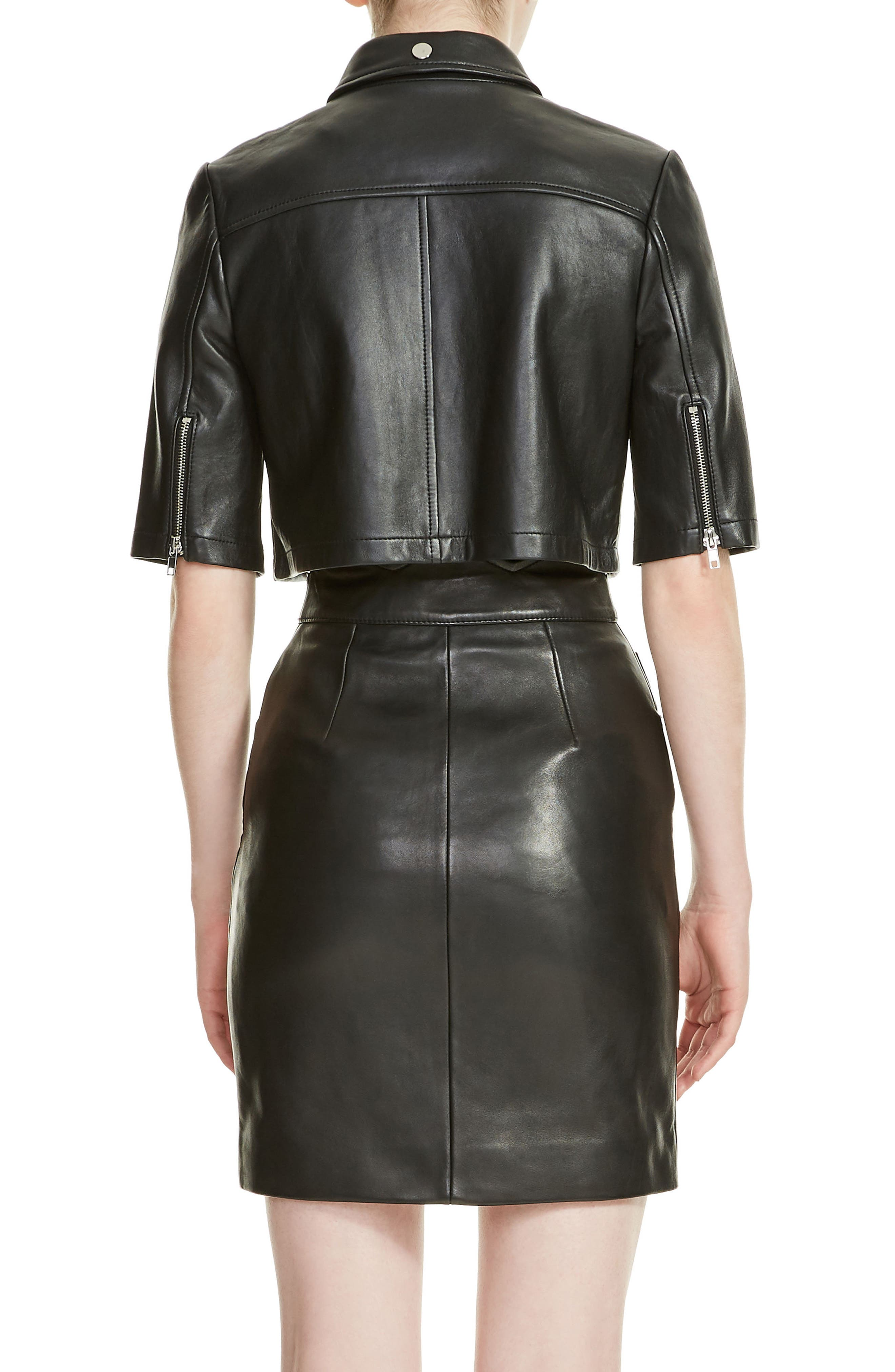 Brittany Crop Leather Jacket,                             Alternate thumbnail 2, color,                             Black