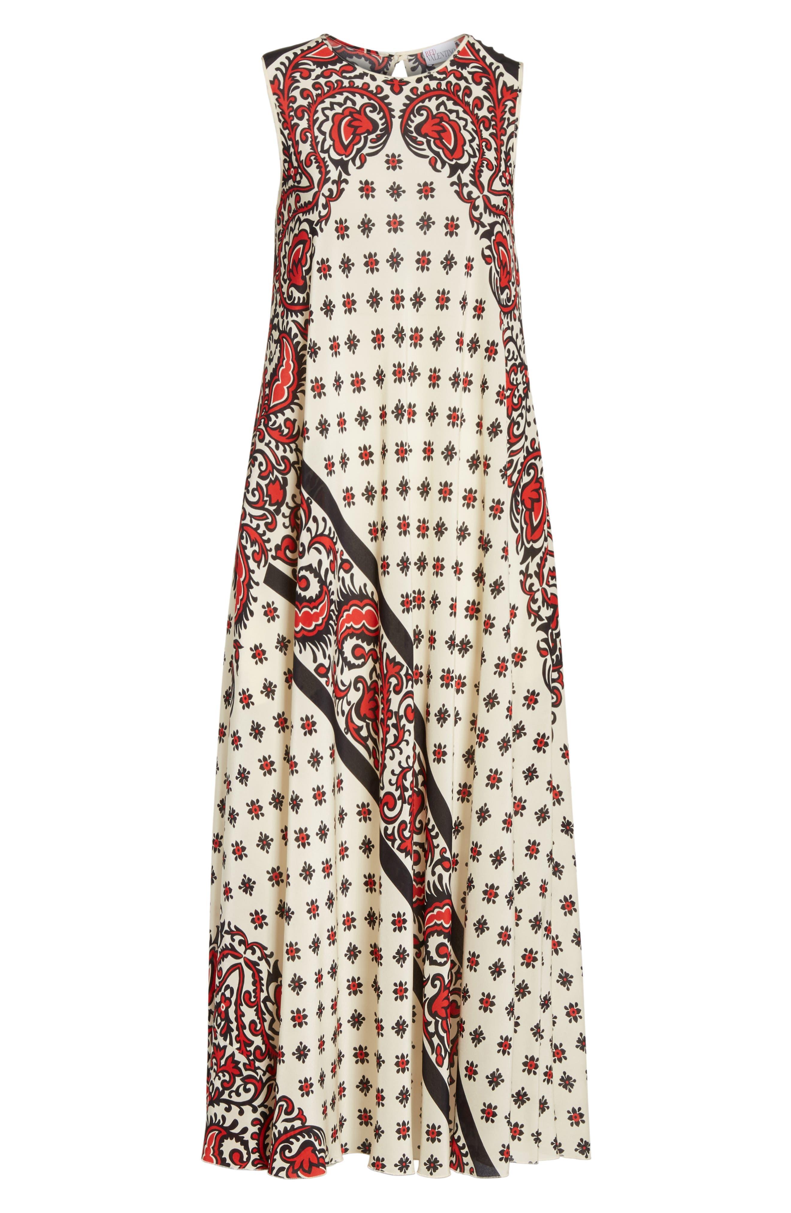 Print Silk Midi Dress,                             Alternate thumbnail 6, color,                             Cherry
